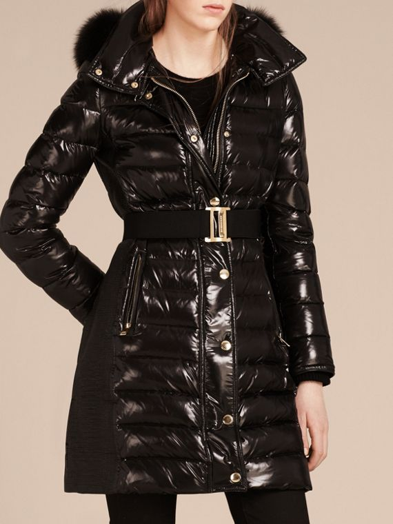 Black Down-Filled Coat with Detachable Fur-trimmed Hood Black - cell image 2