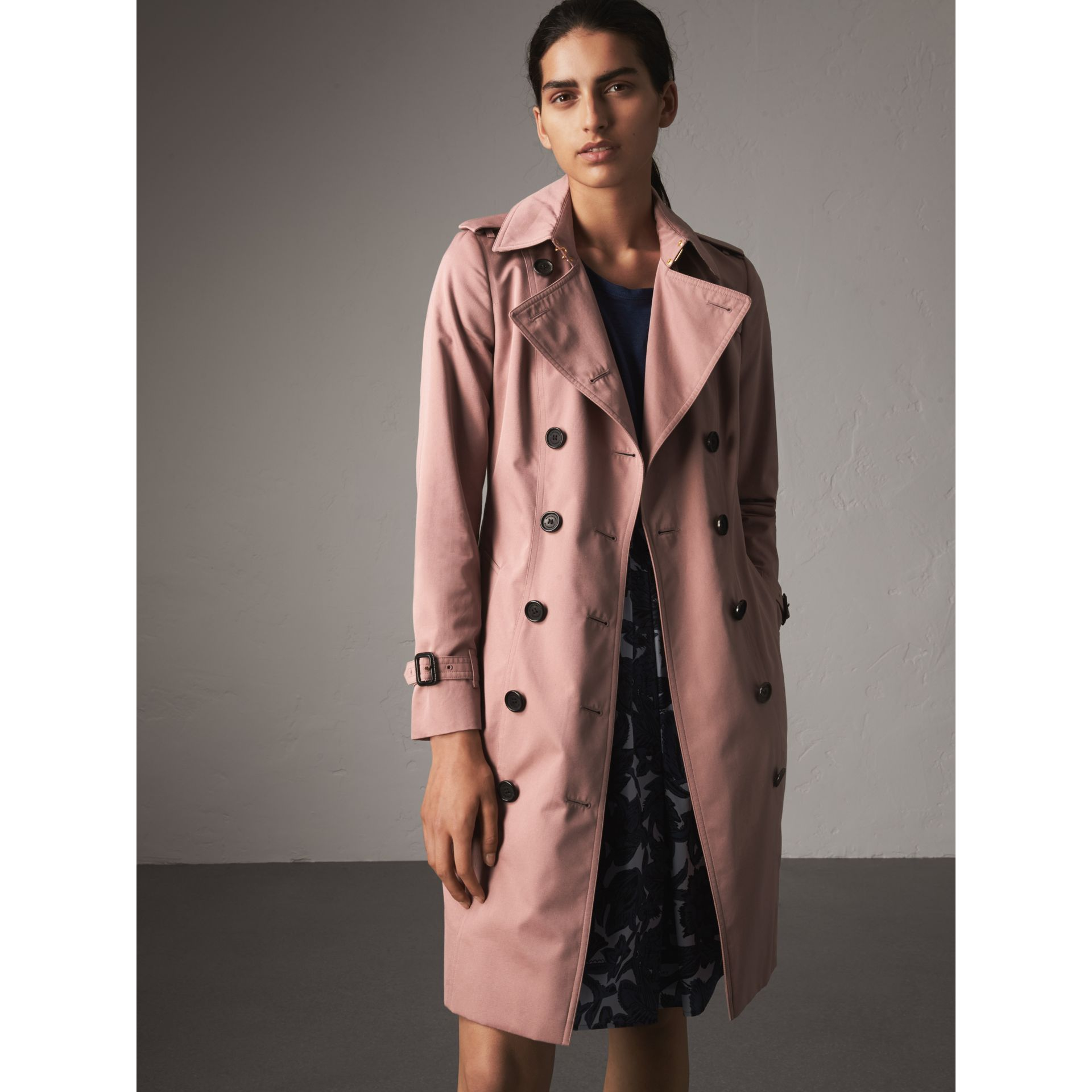 Cotton Gabardine Long Trench Coat in Blush - Women | Burberry - gallery image 6