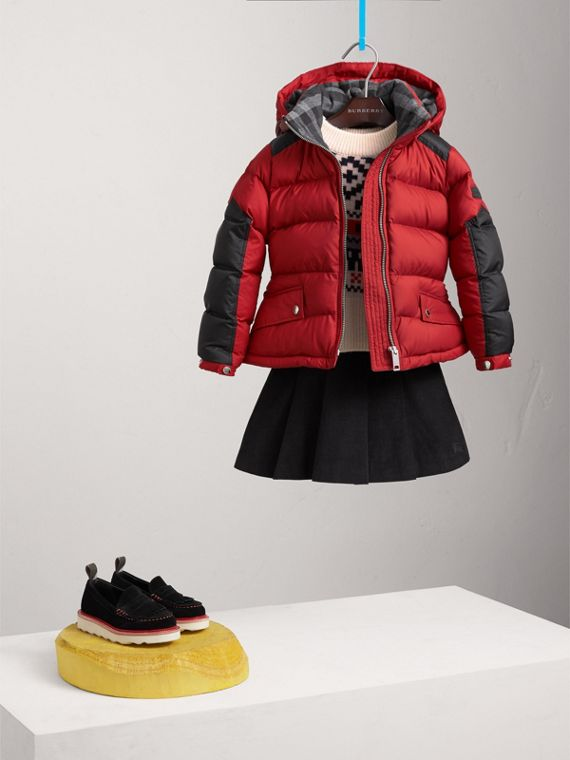 Detachable Hood Two-tone Puffer Coat in Parade Red