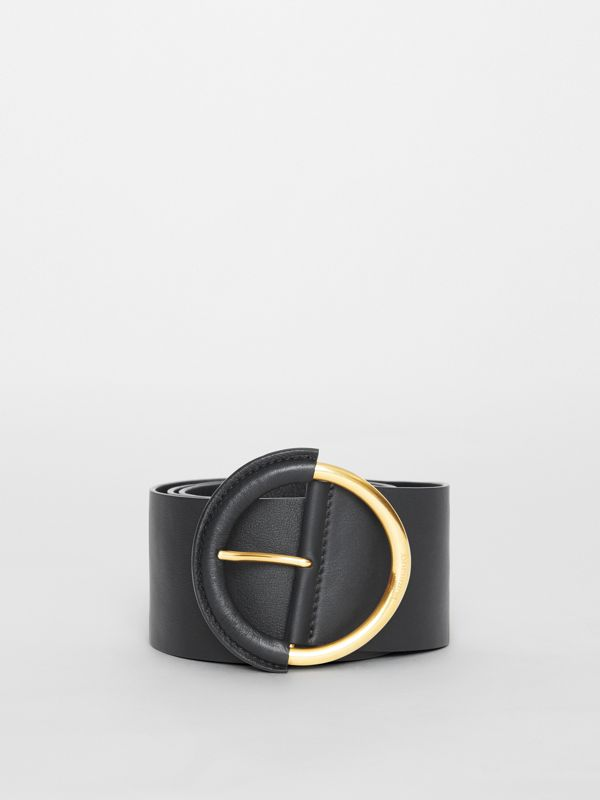 Round Buckle Leather Belt in Black - Women | Burberry - cell image 2
