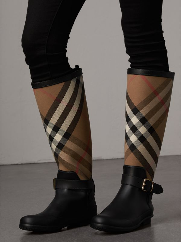 Belt Detail Check and Rubber Rain Boots in House Check/black - Women | Burberry Australia - cell image 2