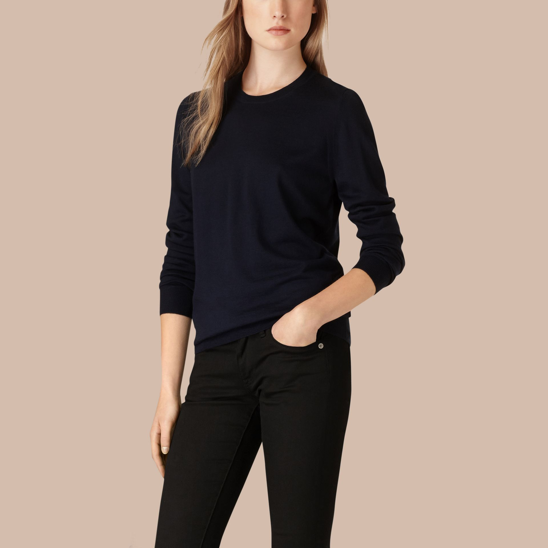 Check Detail Merino Wool Crew Neck Sweater in Navy - Women | Burberry - gallery image 1