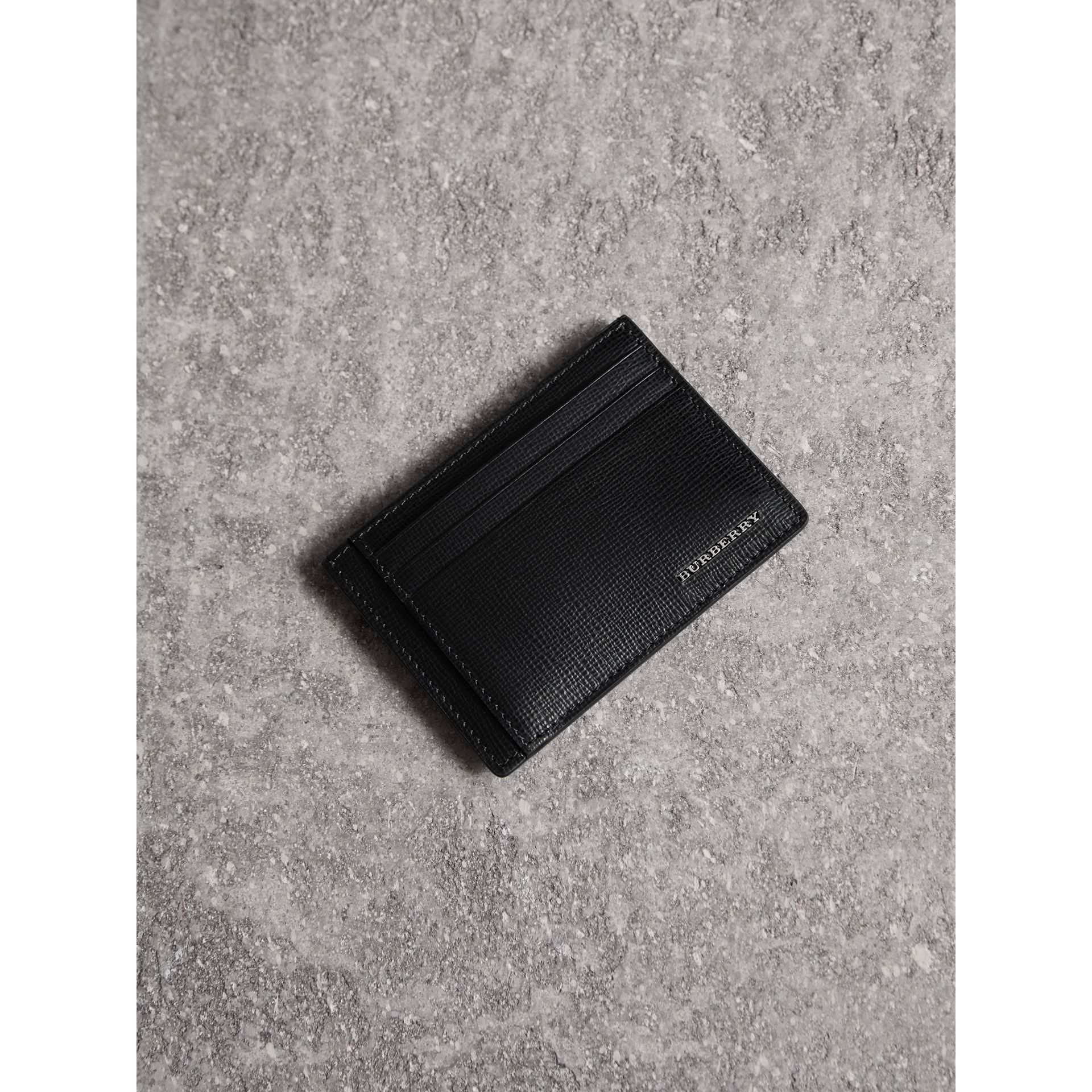 London Leather Money Clip Card Case in Black - Men | Burberry - gallery image 1