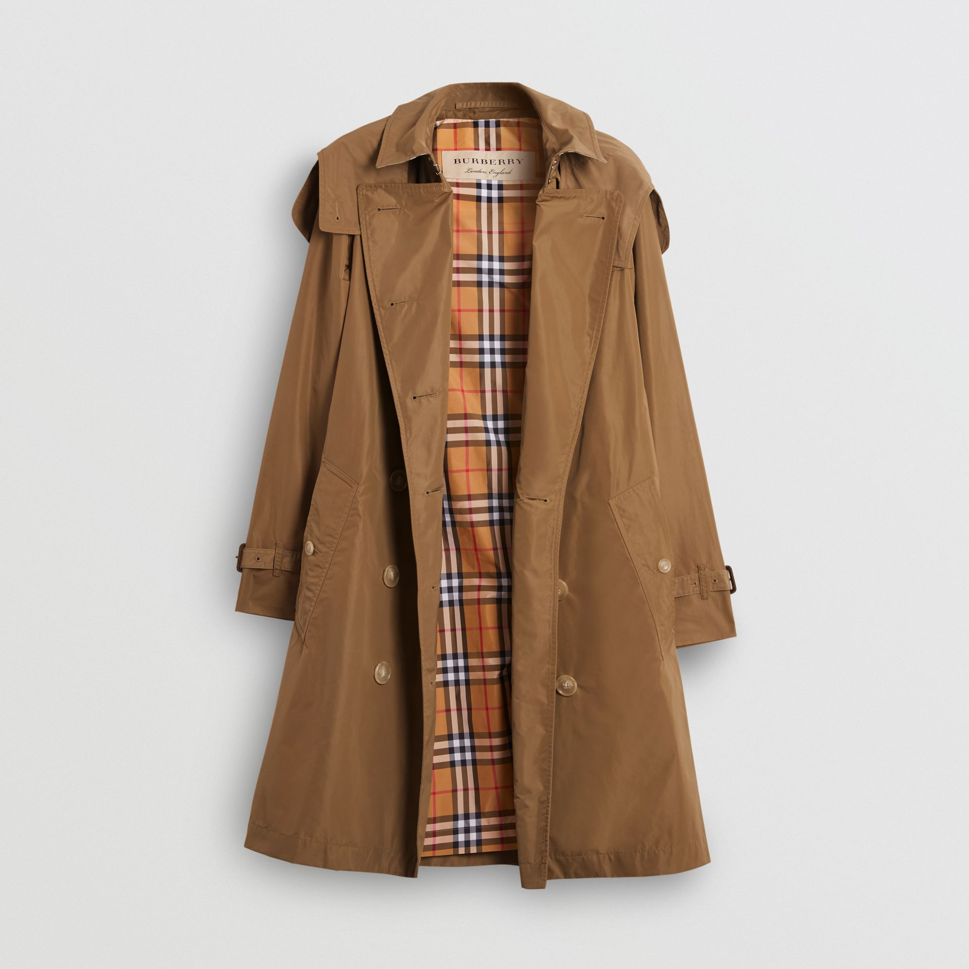 Detachable Hood Taffeta Trench Coat in Camel - Women | Burberry - gallery image 6