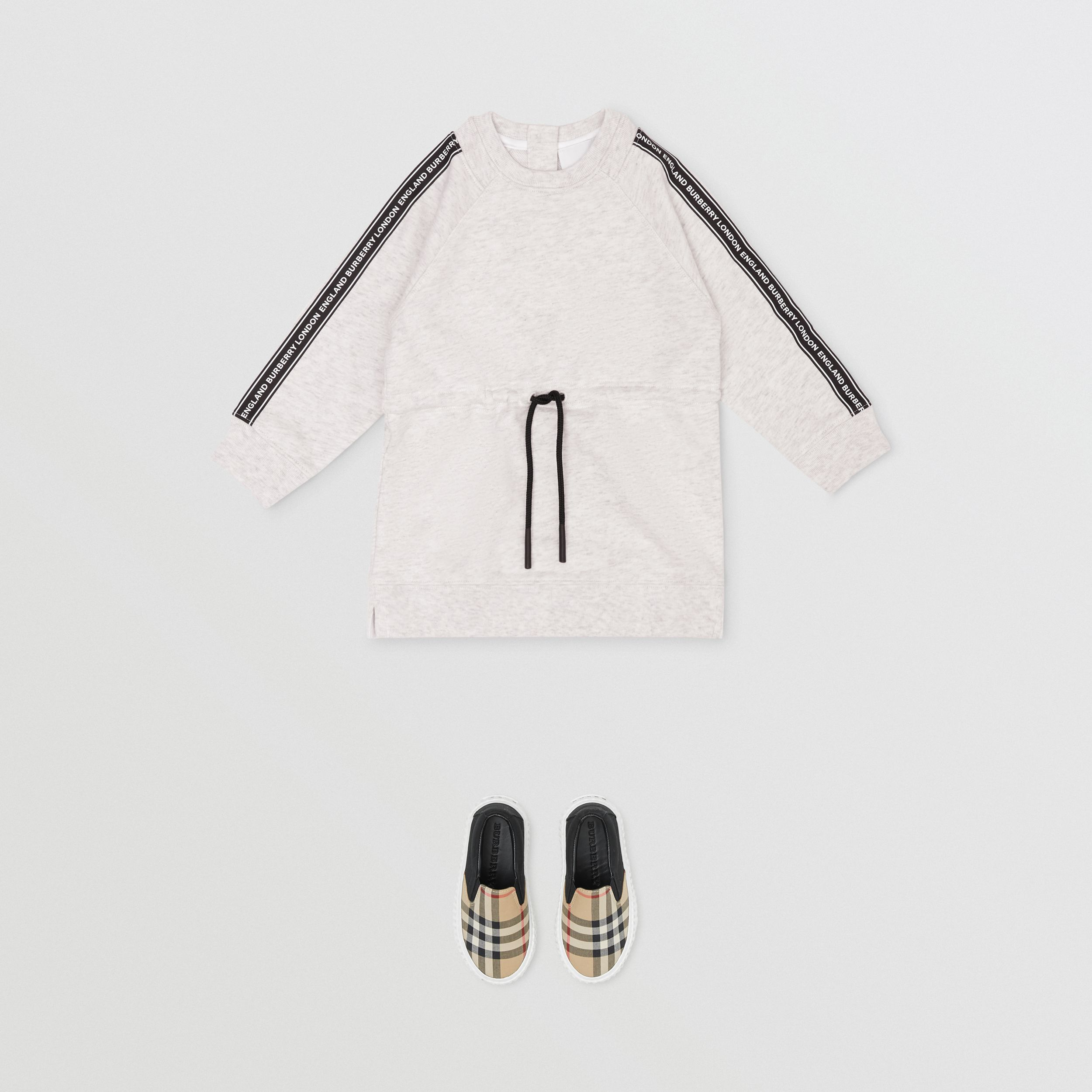 Logo Tape Cotton Sweater Dress in White Melange - Children | Burberry - 3