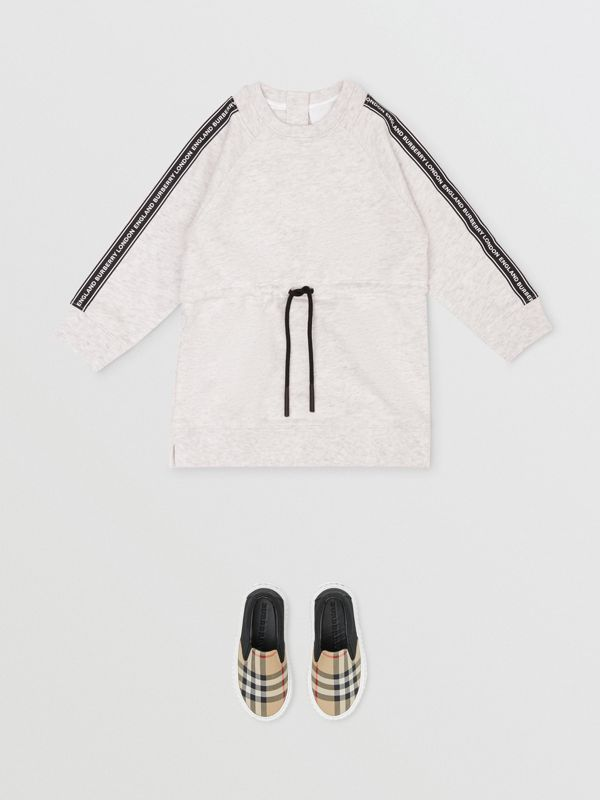 Logo Tape Cotton Sweater Dress in White Melange - Children | Burberry United Kingdom - cell image 2