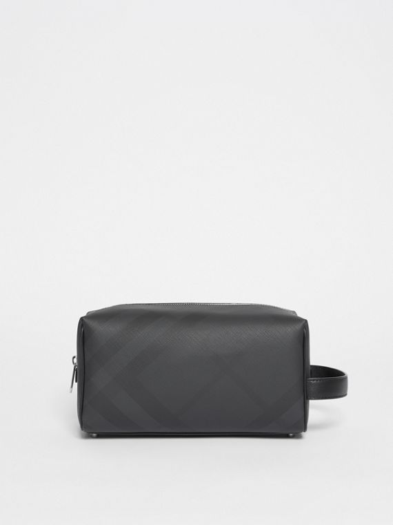 London Check and Leather Pouch in Dark Charcoal