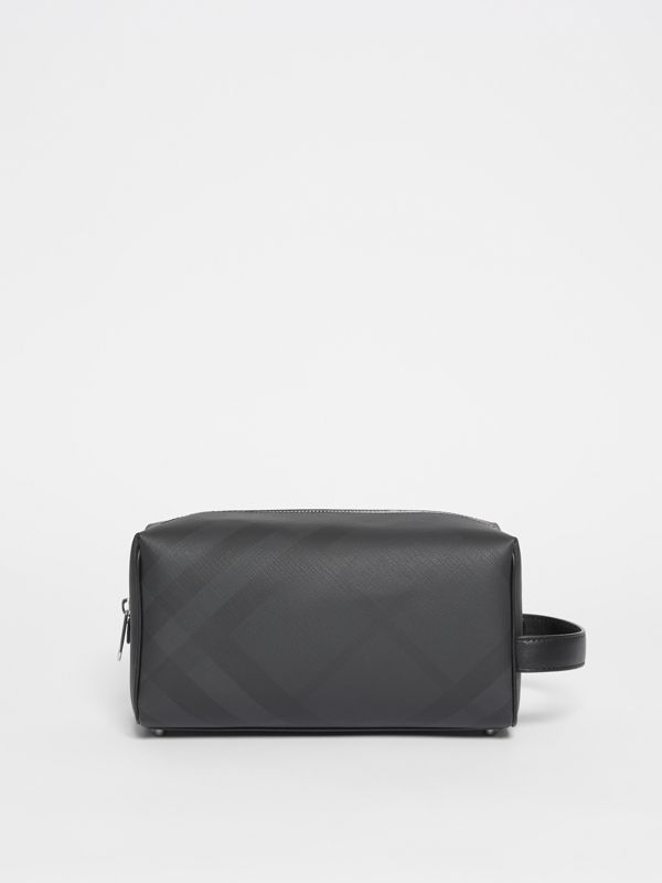 London Check and Leather Travel Pouch in Dark Charcoal - Men | Burberry - cell image 3