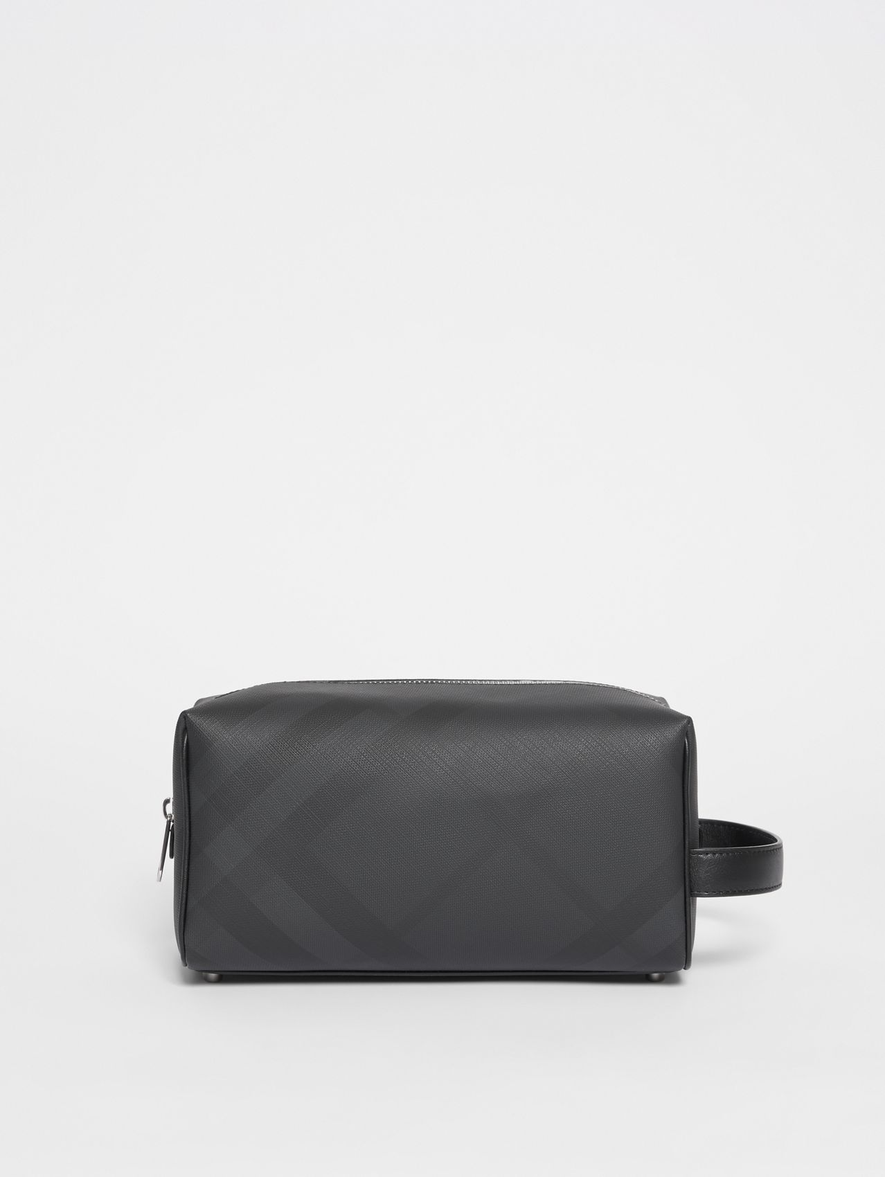 London Check and Leather Travel Pouch in Dark Charcoal