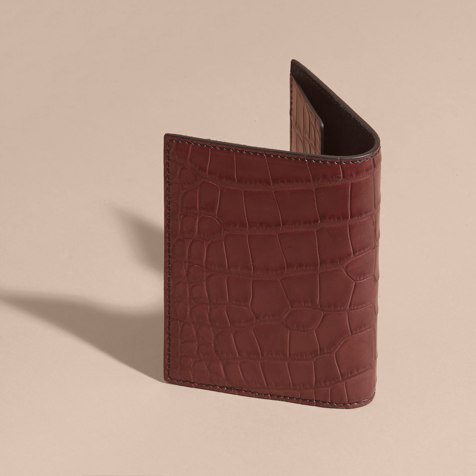 Alligator Passport Holder in Deep Claret | Burberry - gallery image 3