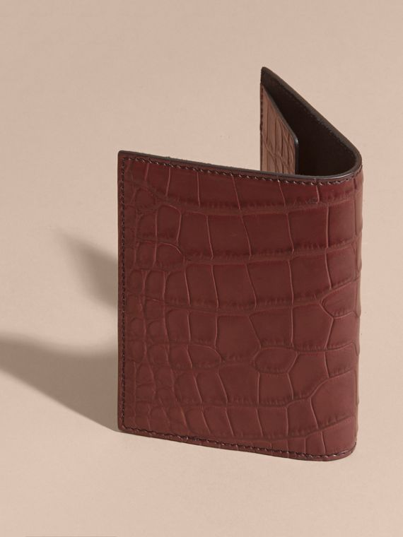 Alligator Passport Holder in Deep Claret | Burberry - cell image 2