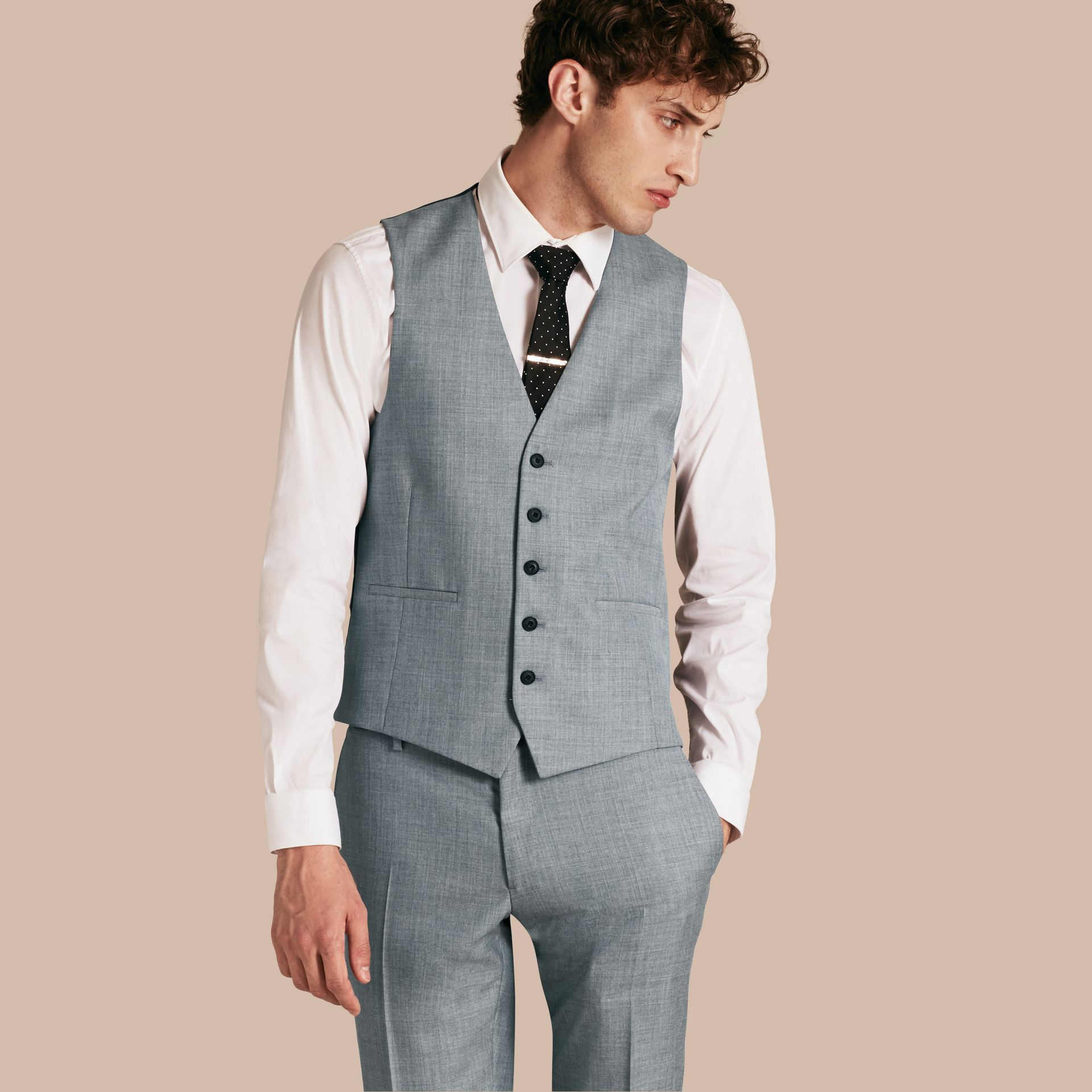 Light grey melange Modern Fit Wool and Satin Panel Waistcoat - gallery image 1