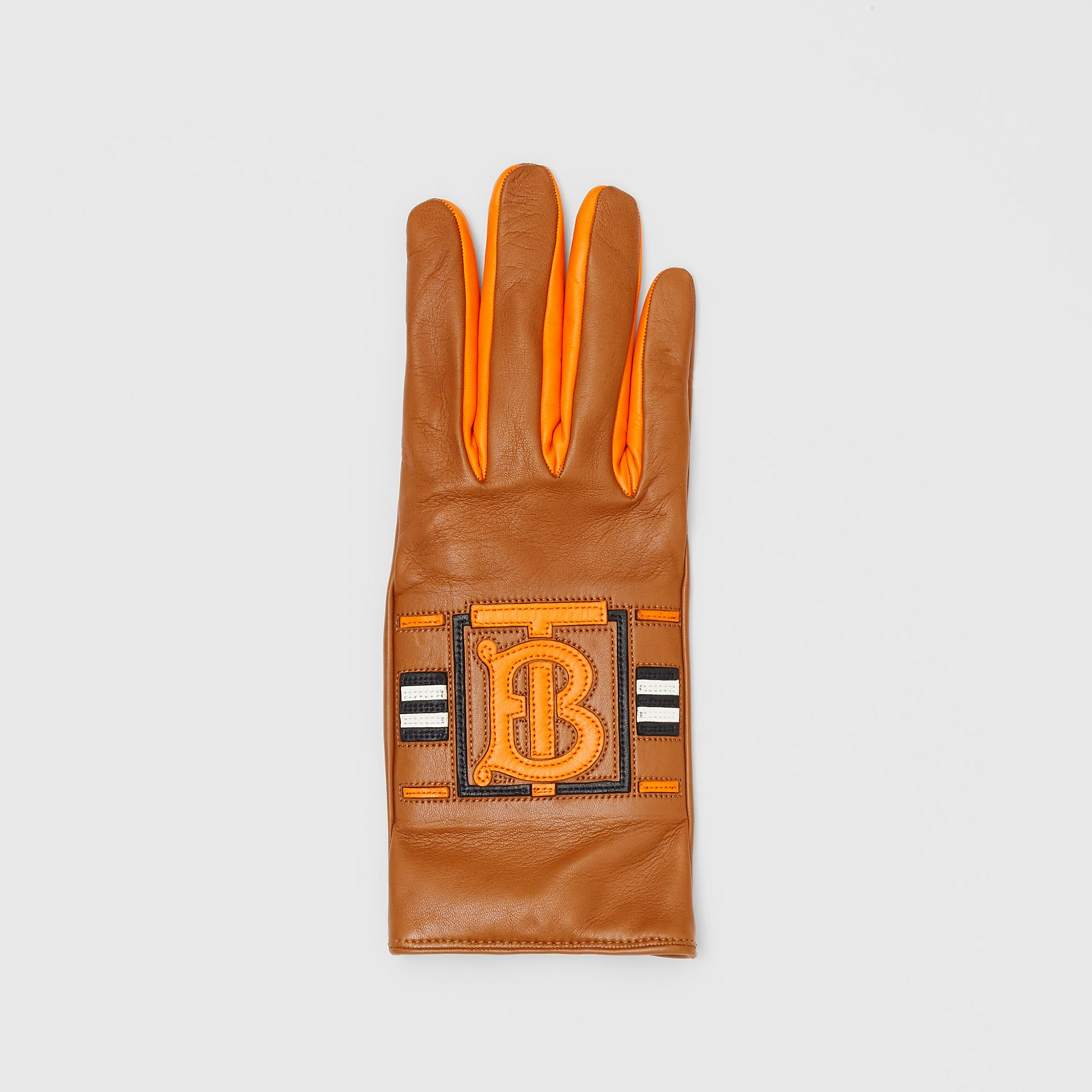 Monogram Intarsia Cashmere-lined Lambskin Gloves in Camel/bright Orange | Burberry United Kingdom - gallery image 2