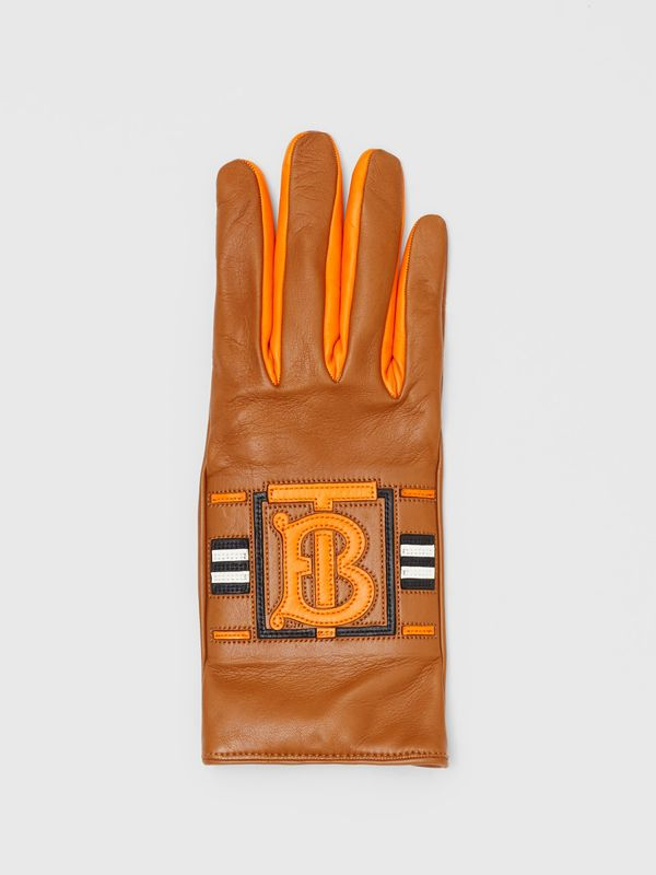 Monogram Intarsia Cashmere-lined Lambskin Gloves in Camel/bright Orange | Burberry United Kingdom - cell image 2