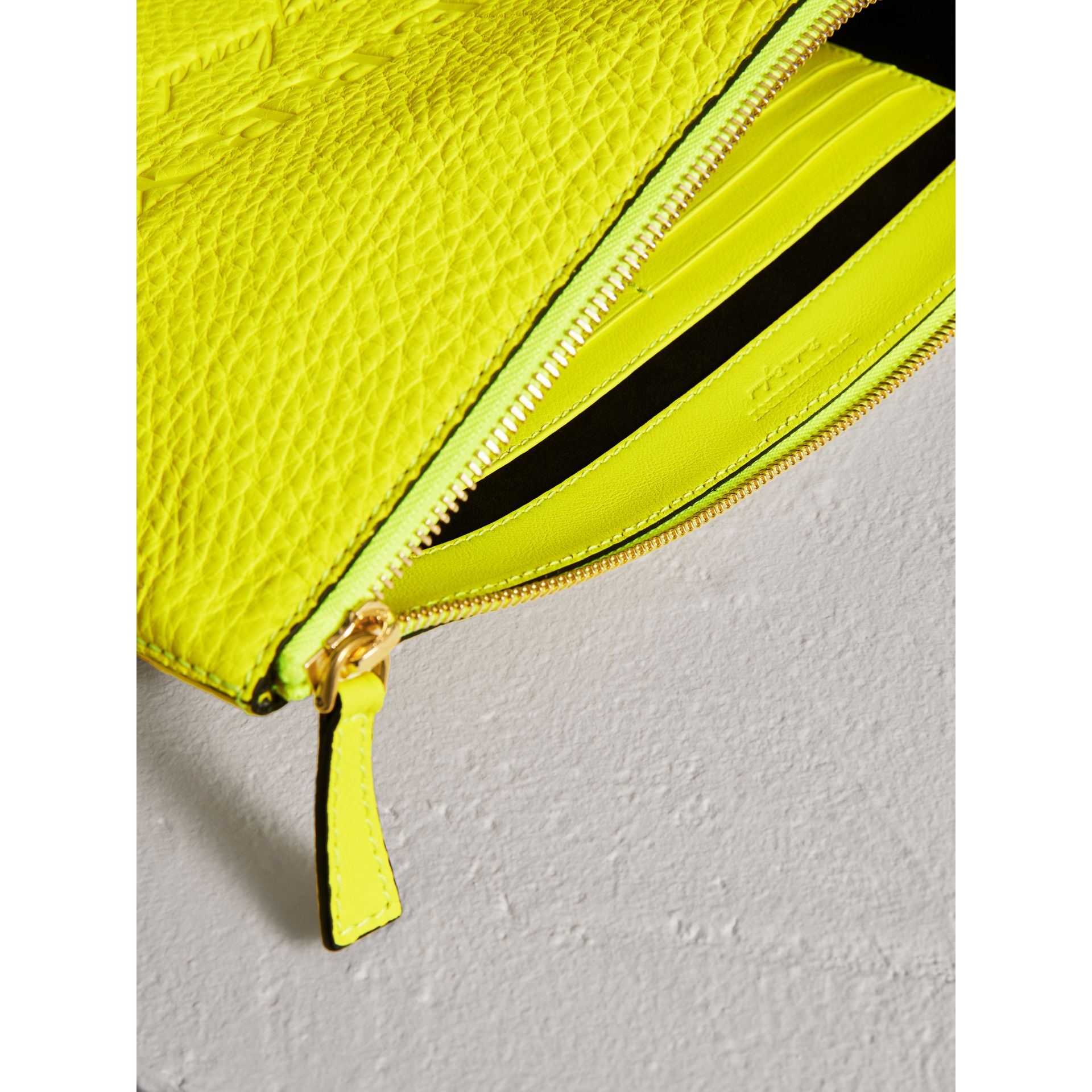 Large Embossed Leather Zip Pouch in Bright Yellow | Burberry - gallery image 3