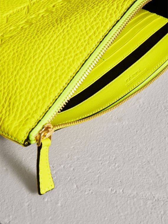 Large Embossed Leather Zip Pouch in Bright Yellow | Burberry - cell image 3