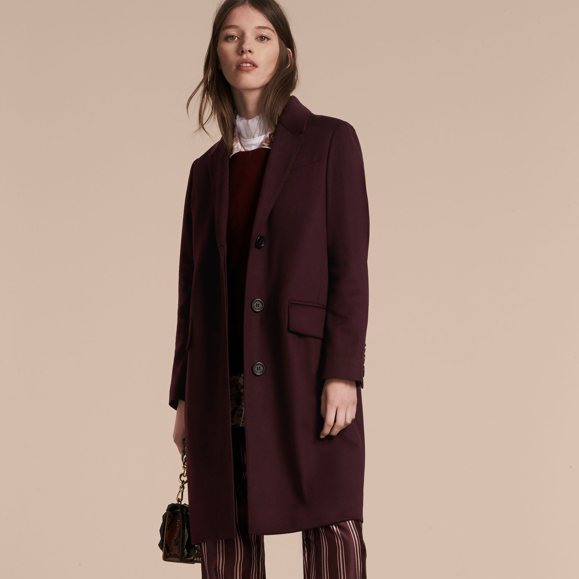 Dark elderberry Cashmere Tailored Coat Dark Elderberry - gallery image 9