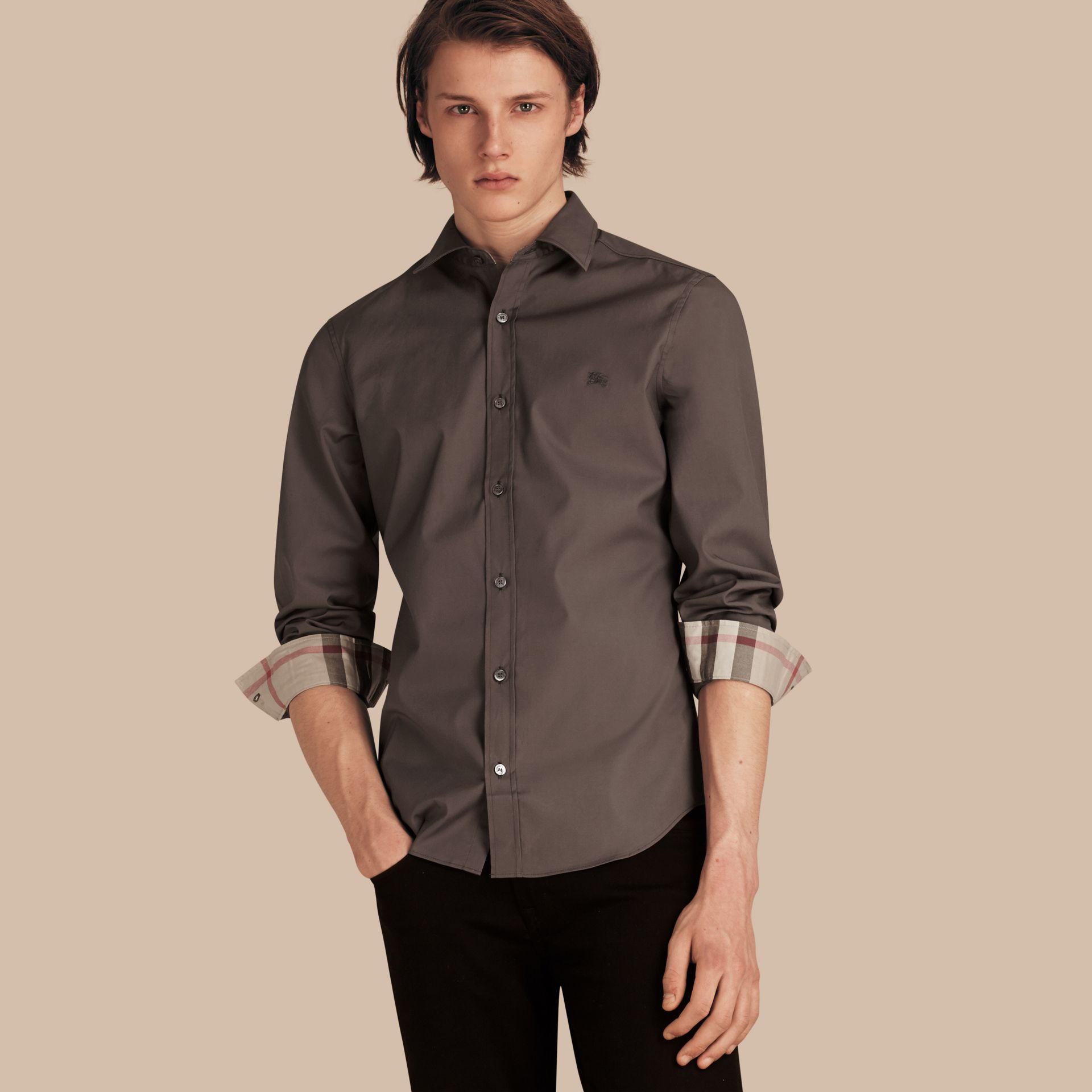 Check Detail Stretch Cotton Poplin Shirt Stone Grey - gallery image 1