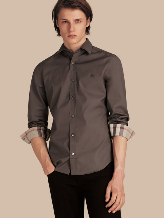 Check Detail Stretch Cotton Poplin Shirt in Stone Grey