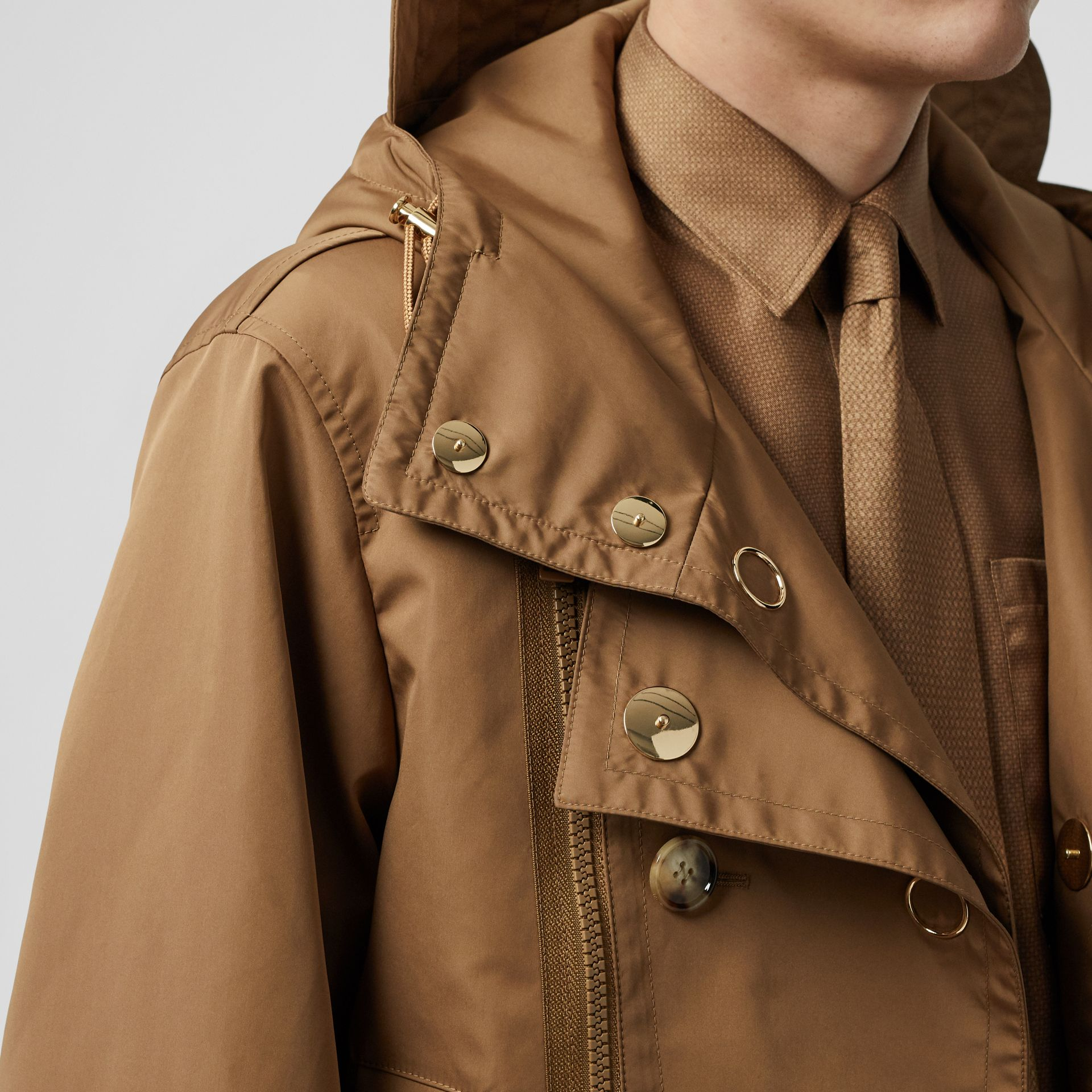 Detachable Panel Detail Hooded Jacket in Warm Walnut - Men | Burberry United Kingdom - gallery image 1
