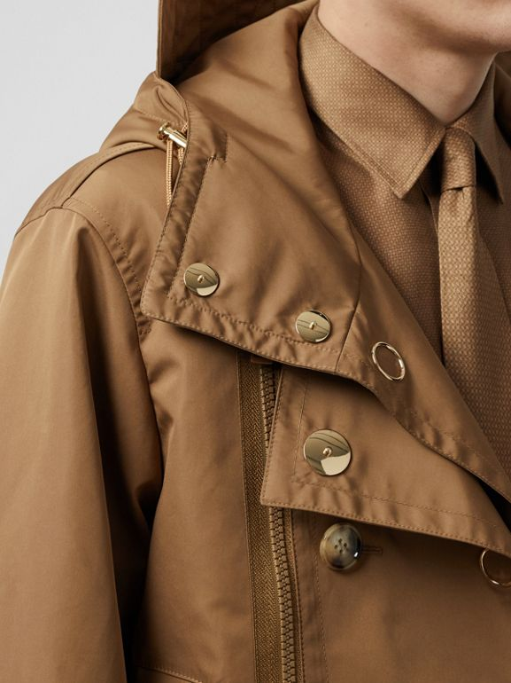 Detachable Panel Detail Hooded Jacket in Warm Walnut - Men | Burberry United Kingdom - cell image 1