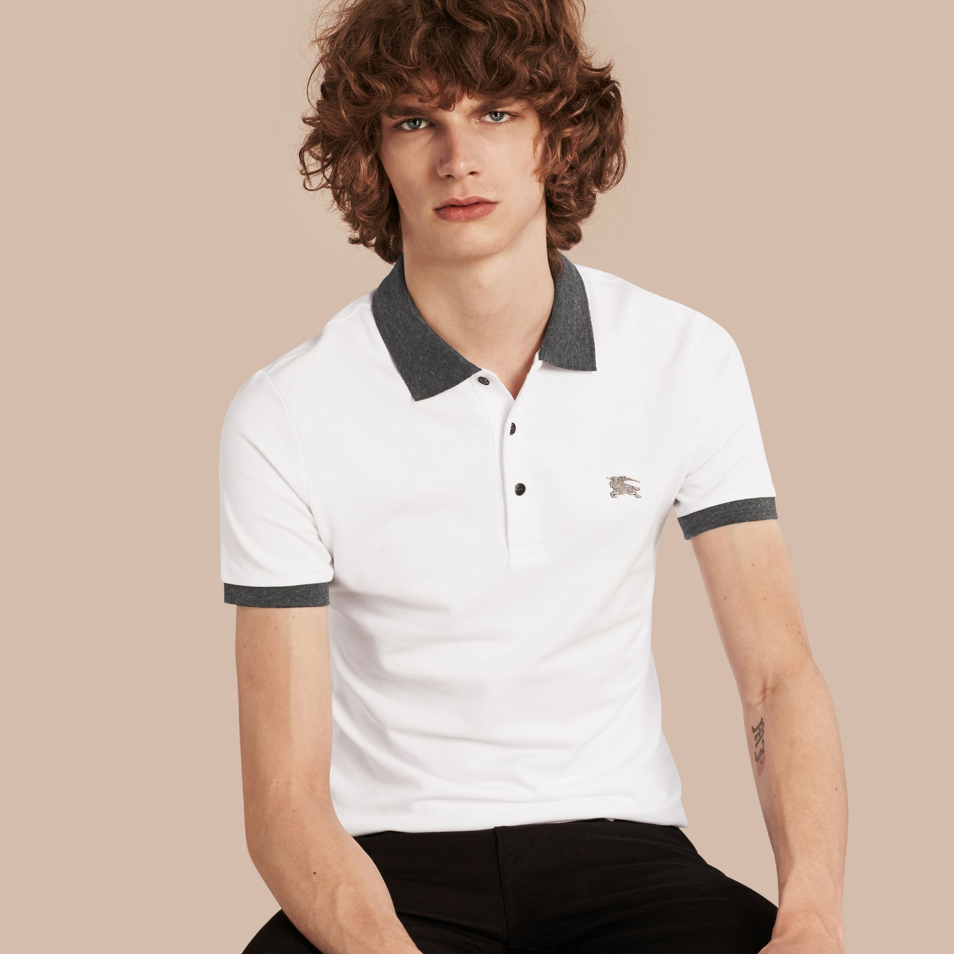 Contrast Colour Detail Cotton Piqué Polo Shirt in White - gallery image 1