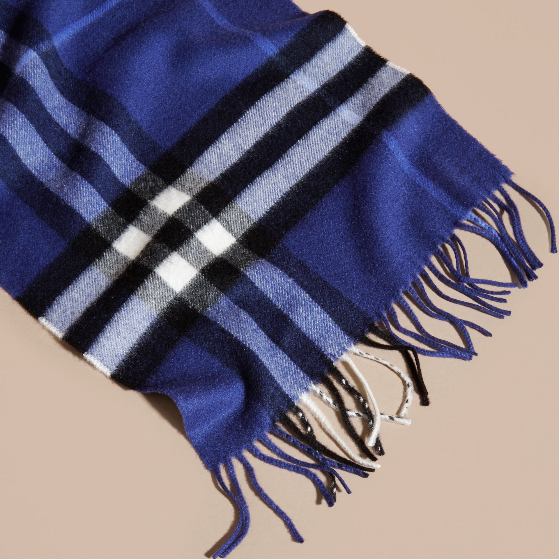 The Classic Cashmere Scarf in Check  Bright Sapphire - gallery image 5