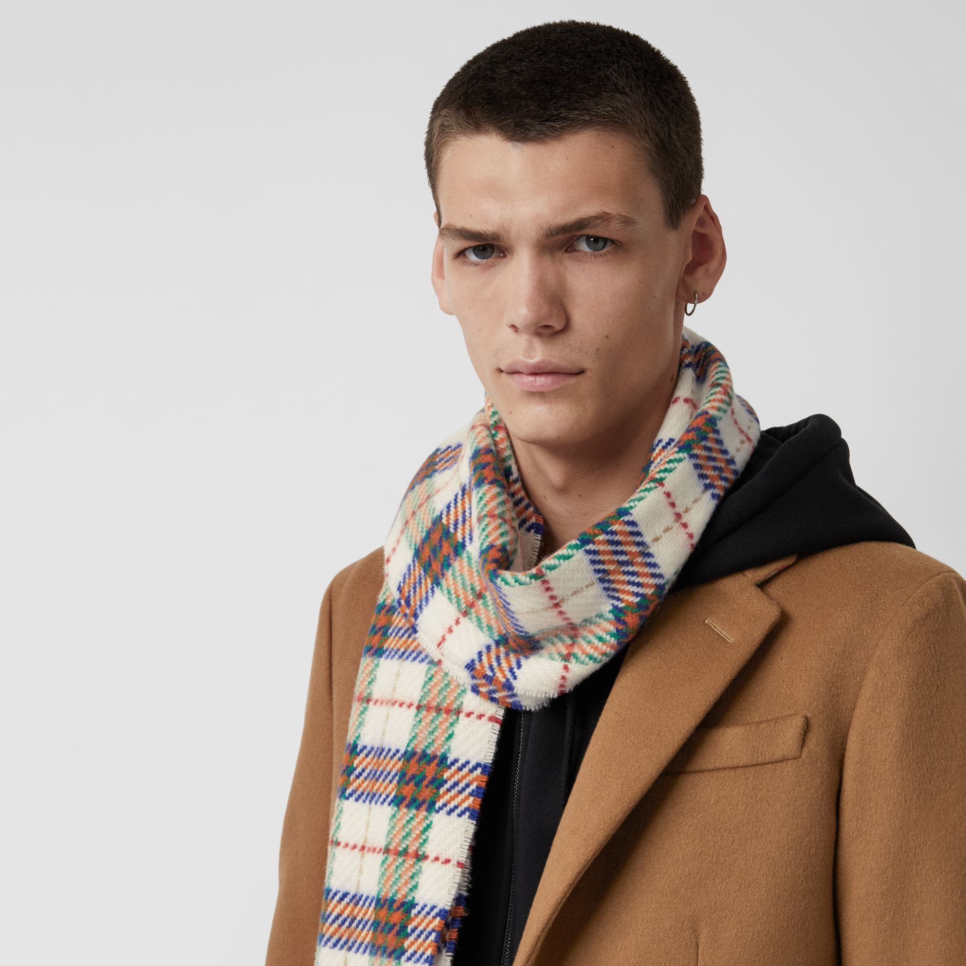 Check Merino Wool Scarf in Natural White | Burberry United Kingdom - gallery image 5