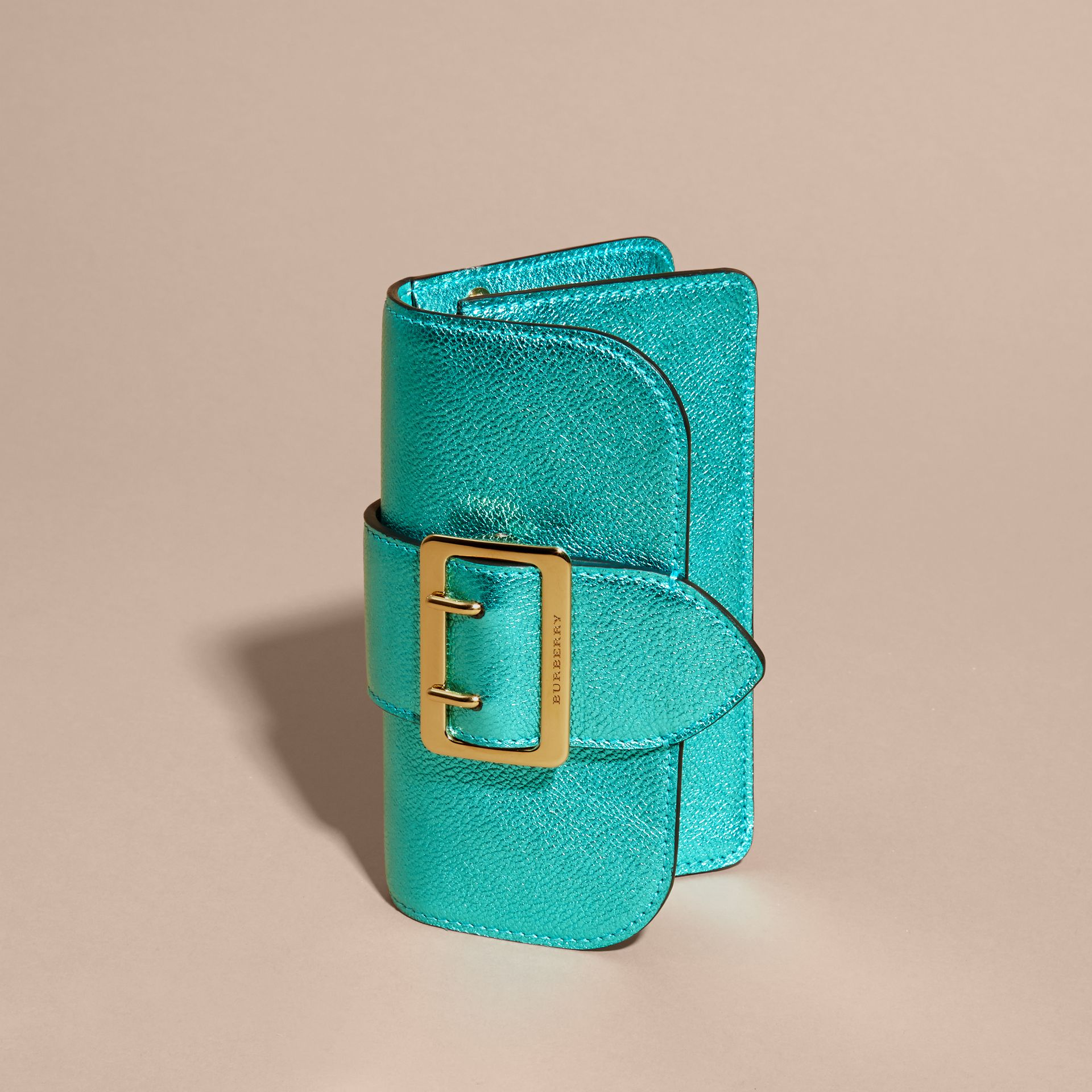 Emerald The Mini Buckle Bag in Metallic Grainy Leather Emerald - gallery image 8