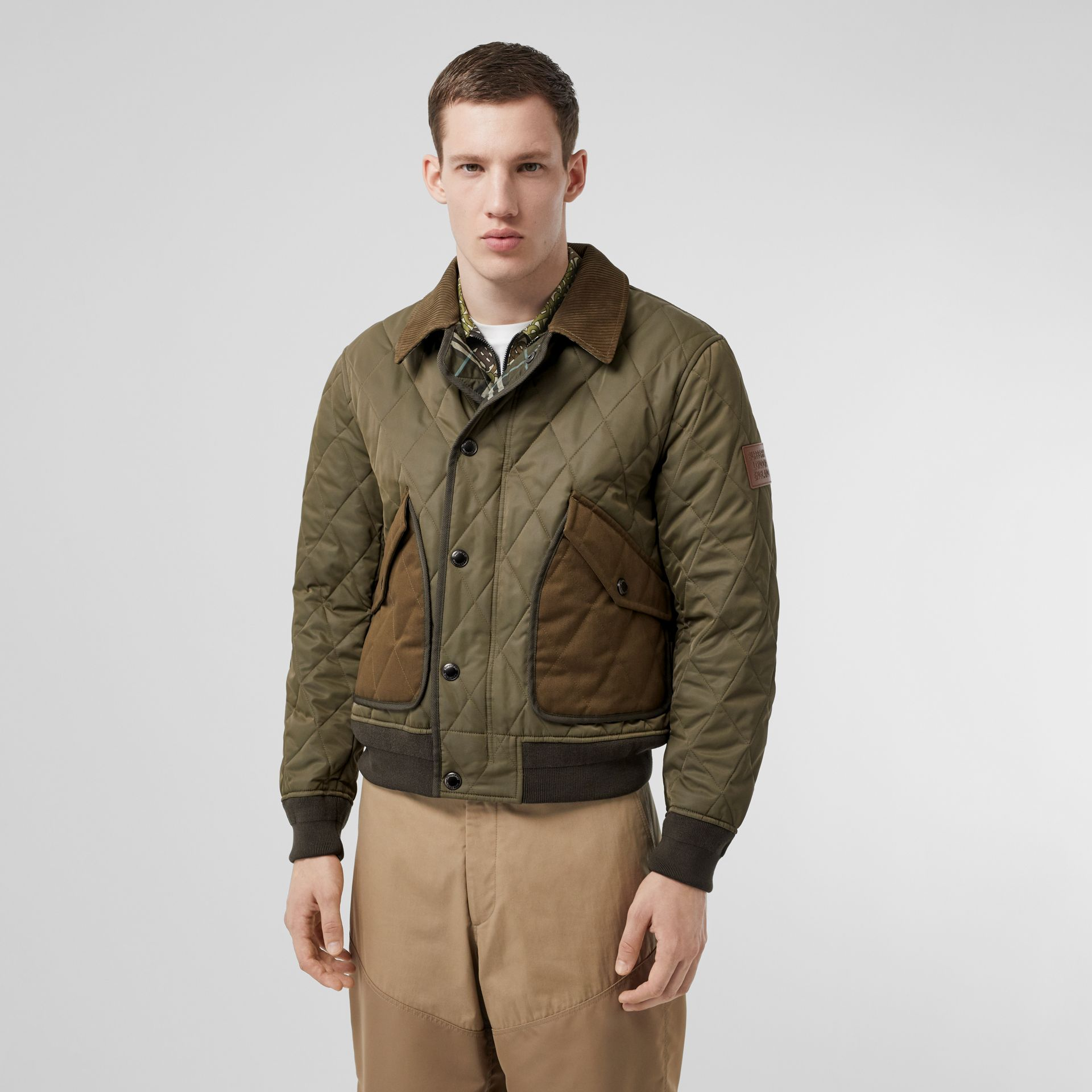 Diamond Quilted Thermoregulated Jacket in Dark Olive - Men | Burberry - gallery image 6