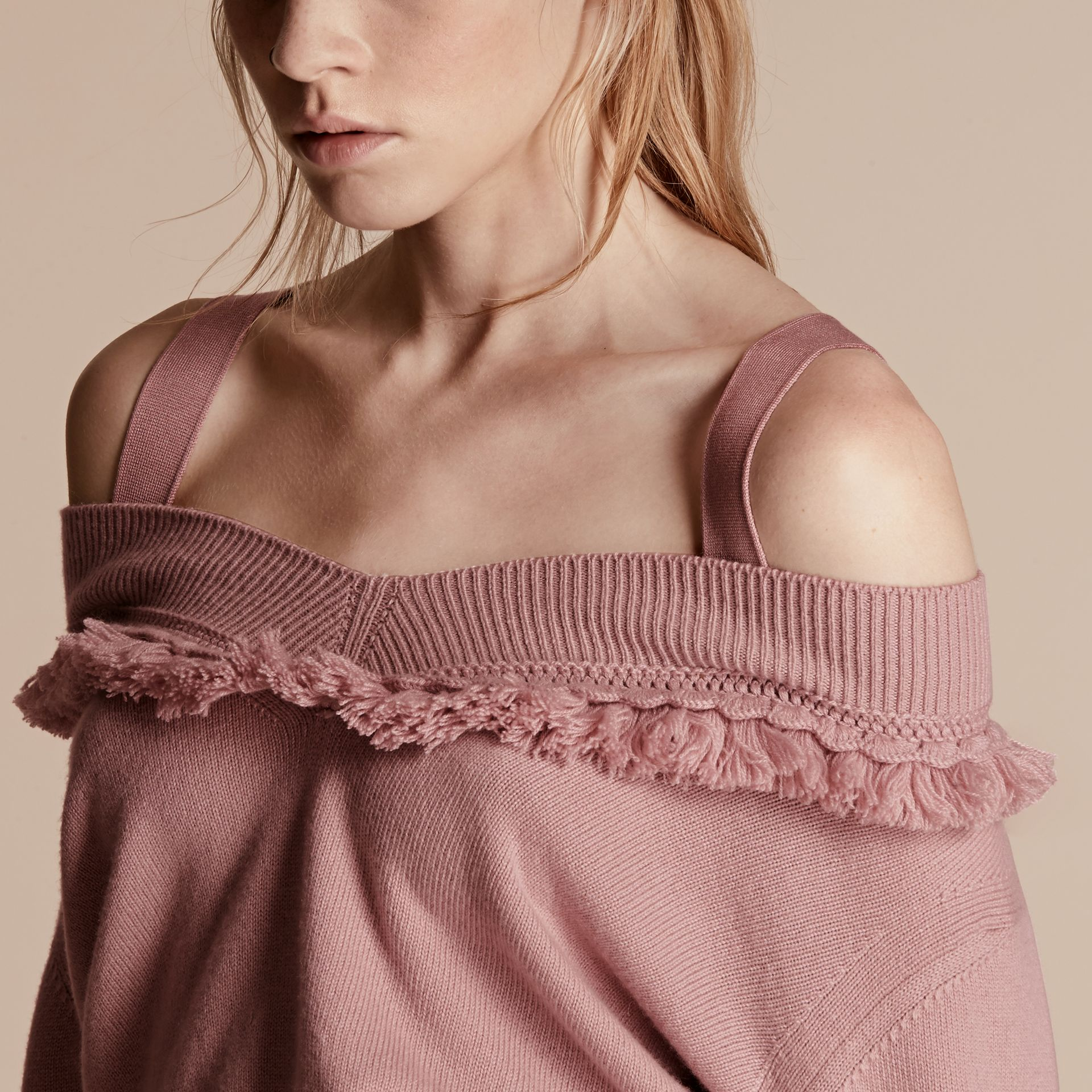 Blossom Cashmere Off-the-shoulder Sweater with Fringing Blossom - gallery image 5