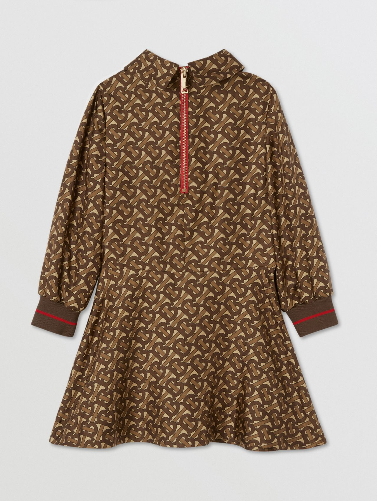 Long-sleeve Monogram Stripe Print Silk Dress (Bridle Brown)