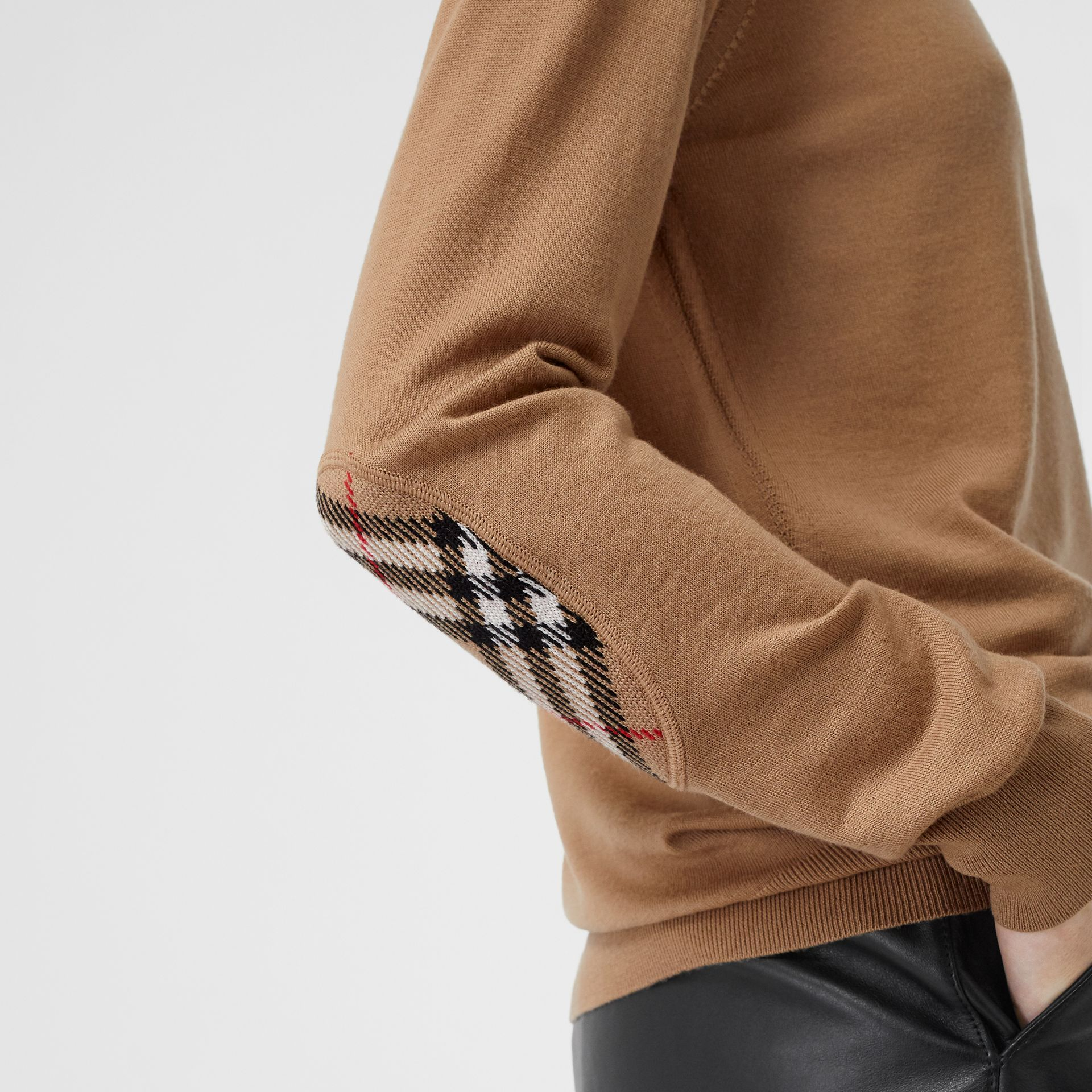 Vintage Check Detail Merino Wool Sweater in Camel - Women | Burberry United Kingdom - gallery image 1