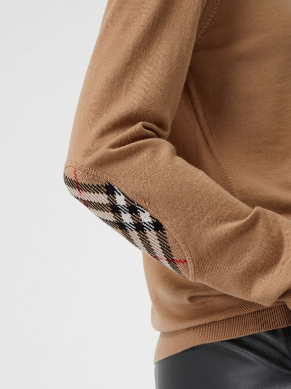 Vintage Check Detail Merino Wool Sweater in Camel - Women | Burberry - cell image 1