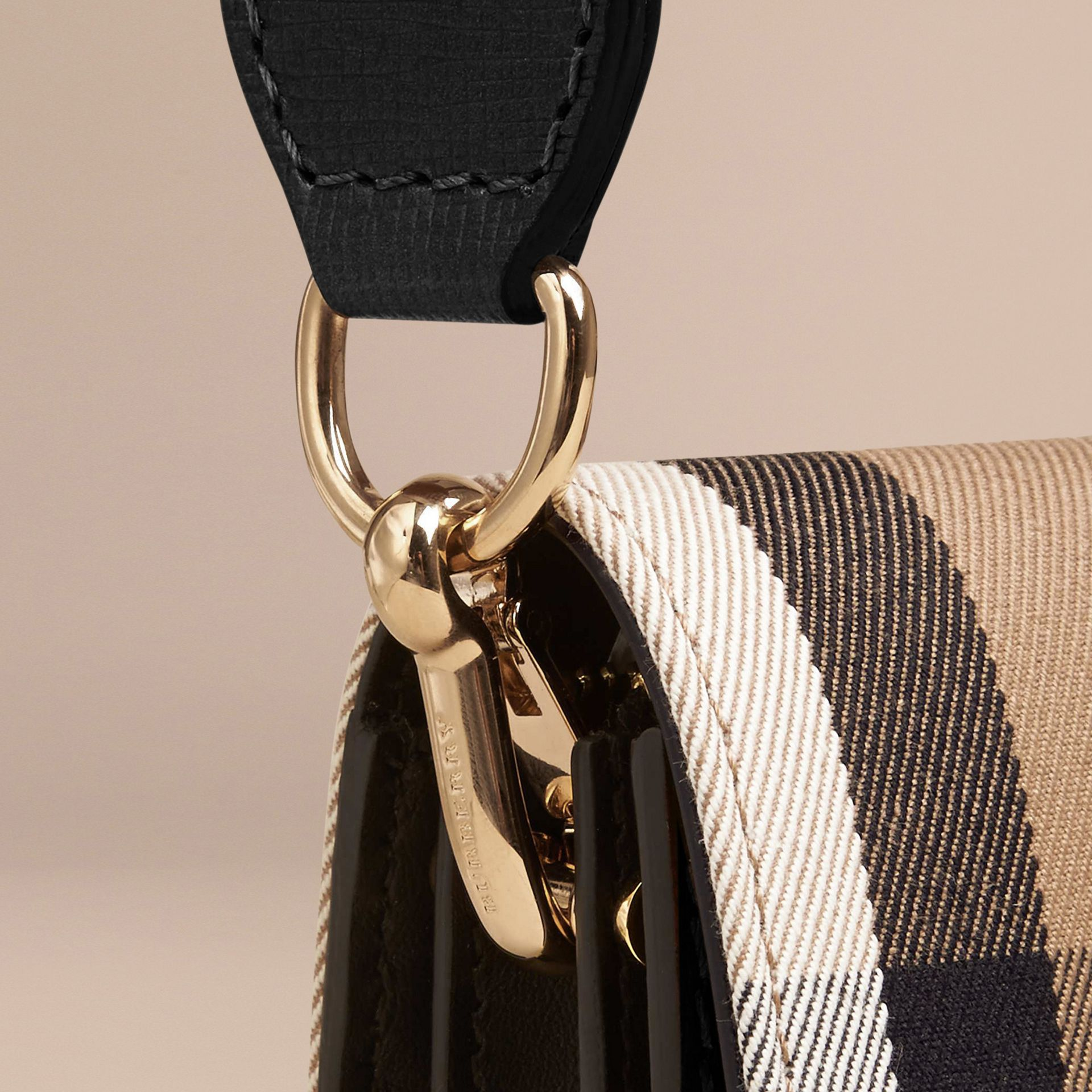 The Small Buckle Bag in House Check and Leather in Black - gallery image 8