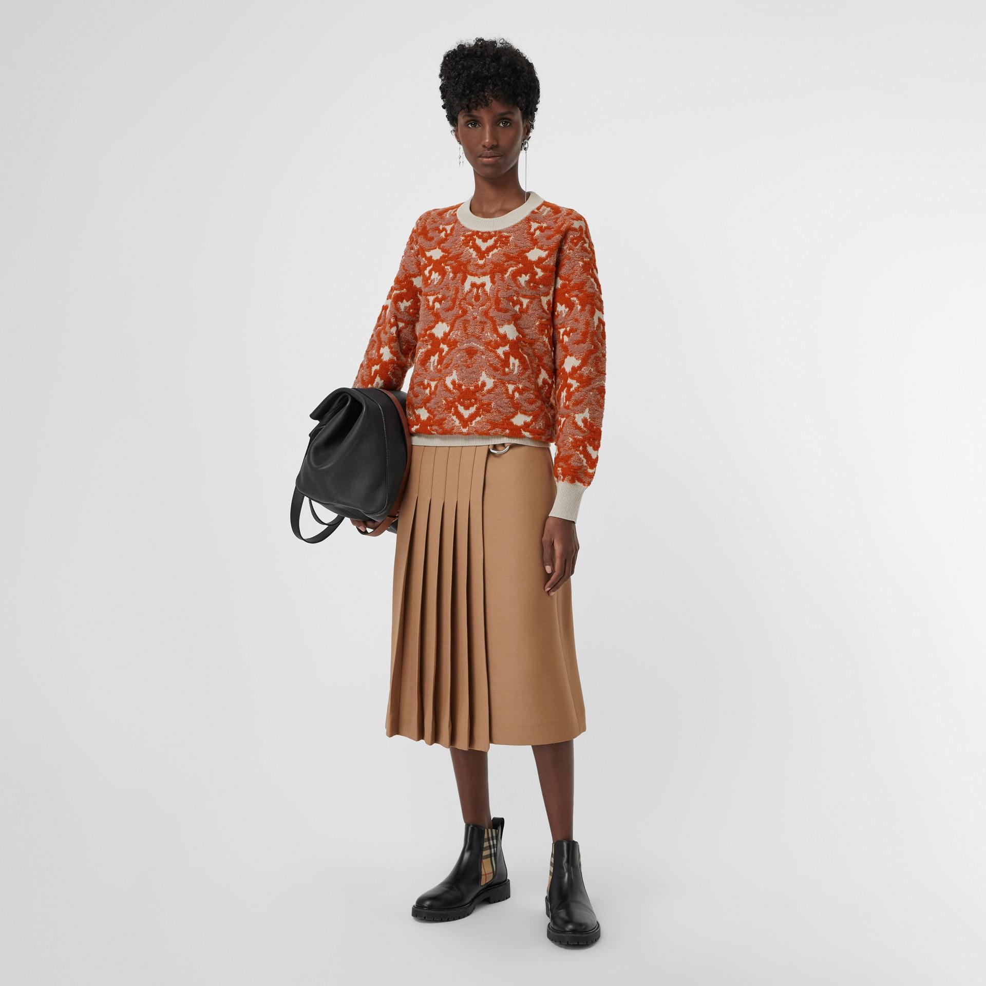 Pull en jacquard de laine et soie damassé (Azalée Rose) - Femme | Burberry Canada - photo de la galerie 0