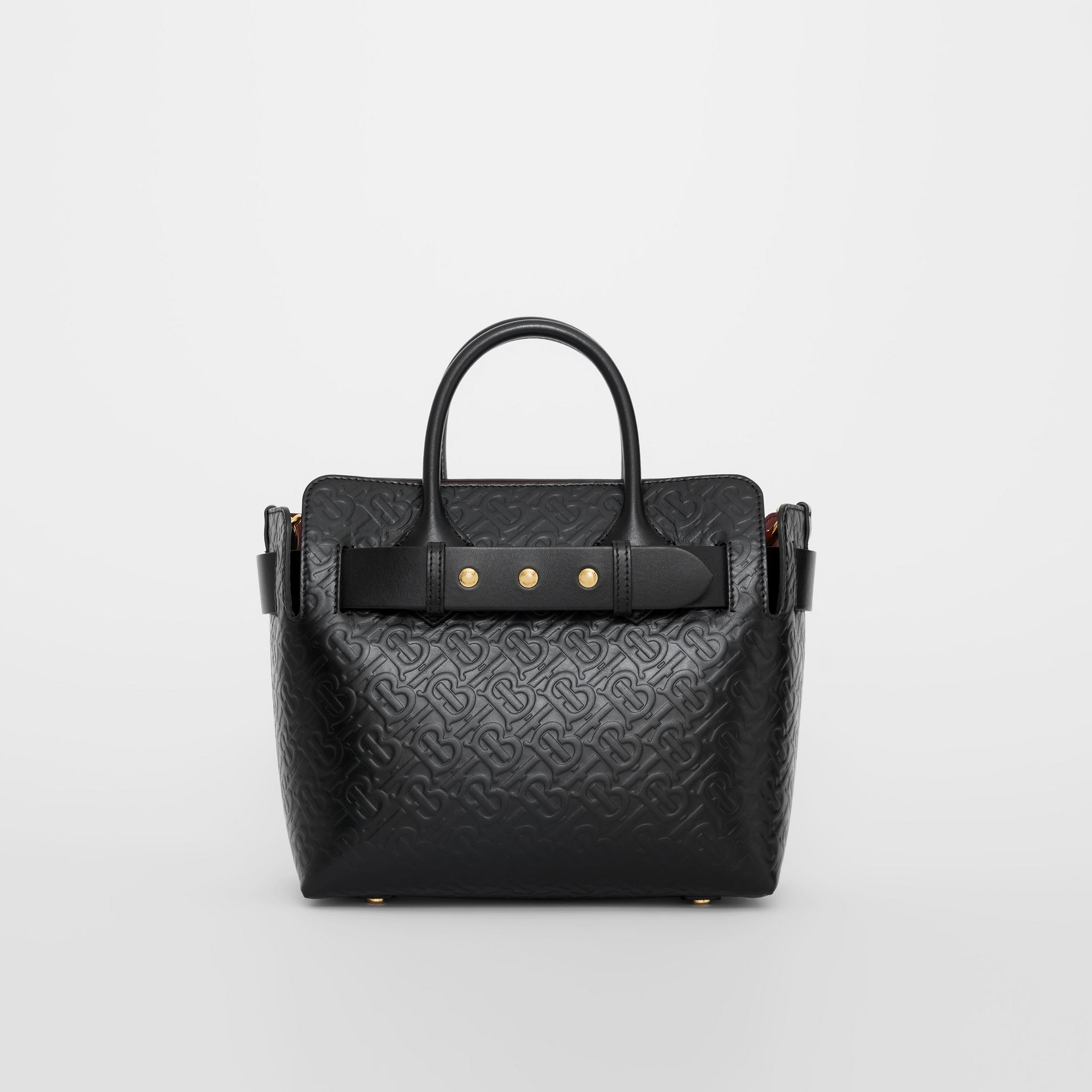 The Small Monogram Leather Triple Stud Belt Bag in Black - Women | Burberry Australia - gallery image 0