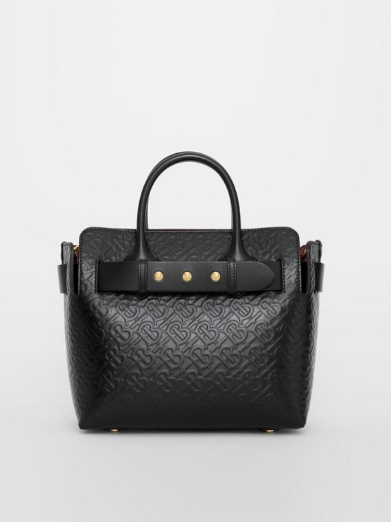 The Small Monogram Leather Triple Stud Belt Bag in Black