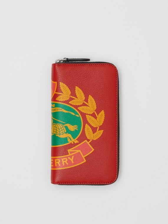 Carteira de couro com zíper e estampa de emblema (Vermelho Ferrugem)