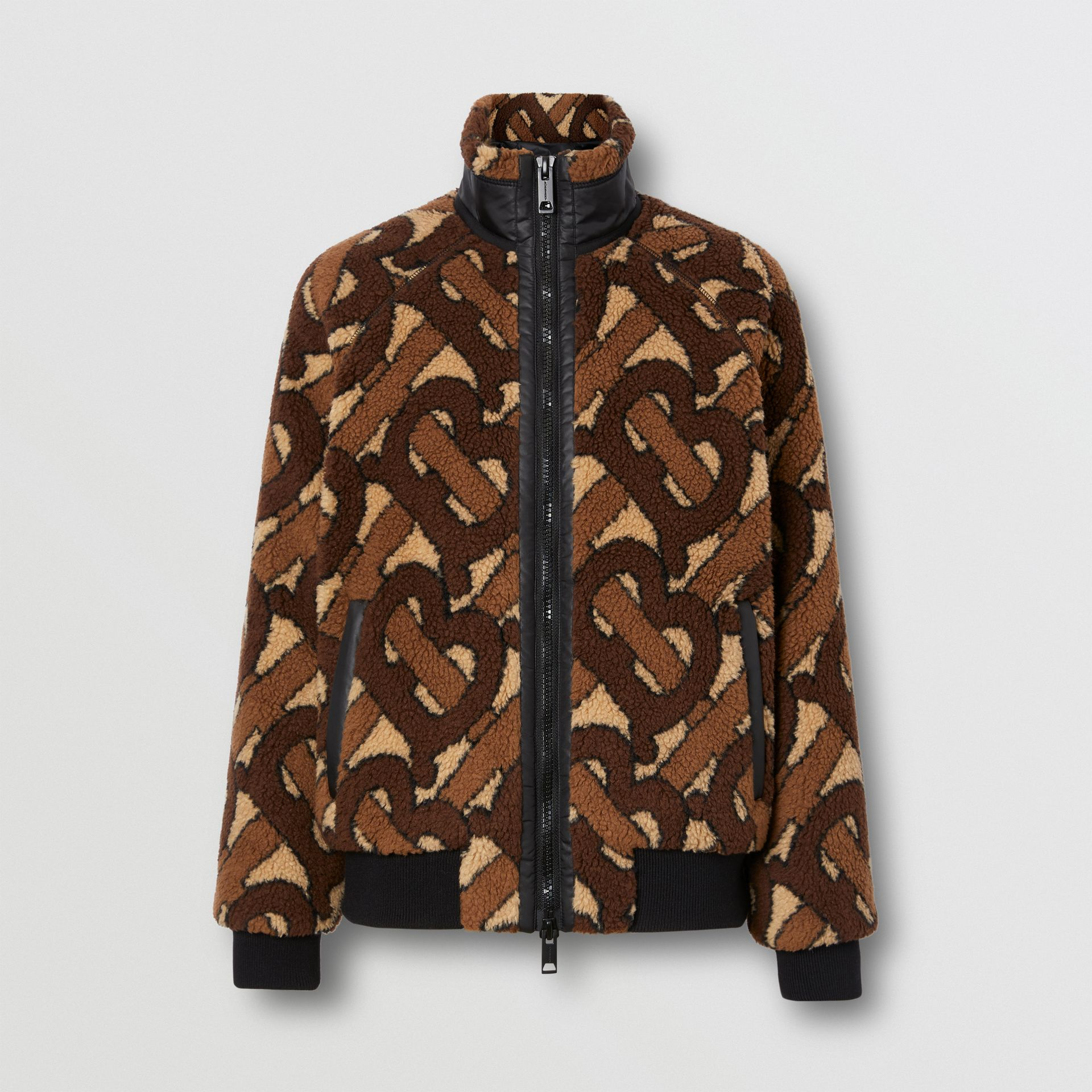 Monogram Fleece Jacquard Jacket in Bridle Brown - Women | Burberry United States - gallery image 3