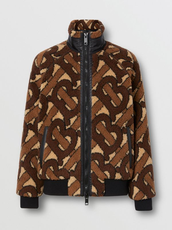 Monogram Fleece Jacquard Jacket in Bridle Brown - Women | Burberry United States - cell image 3