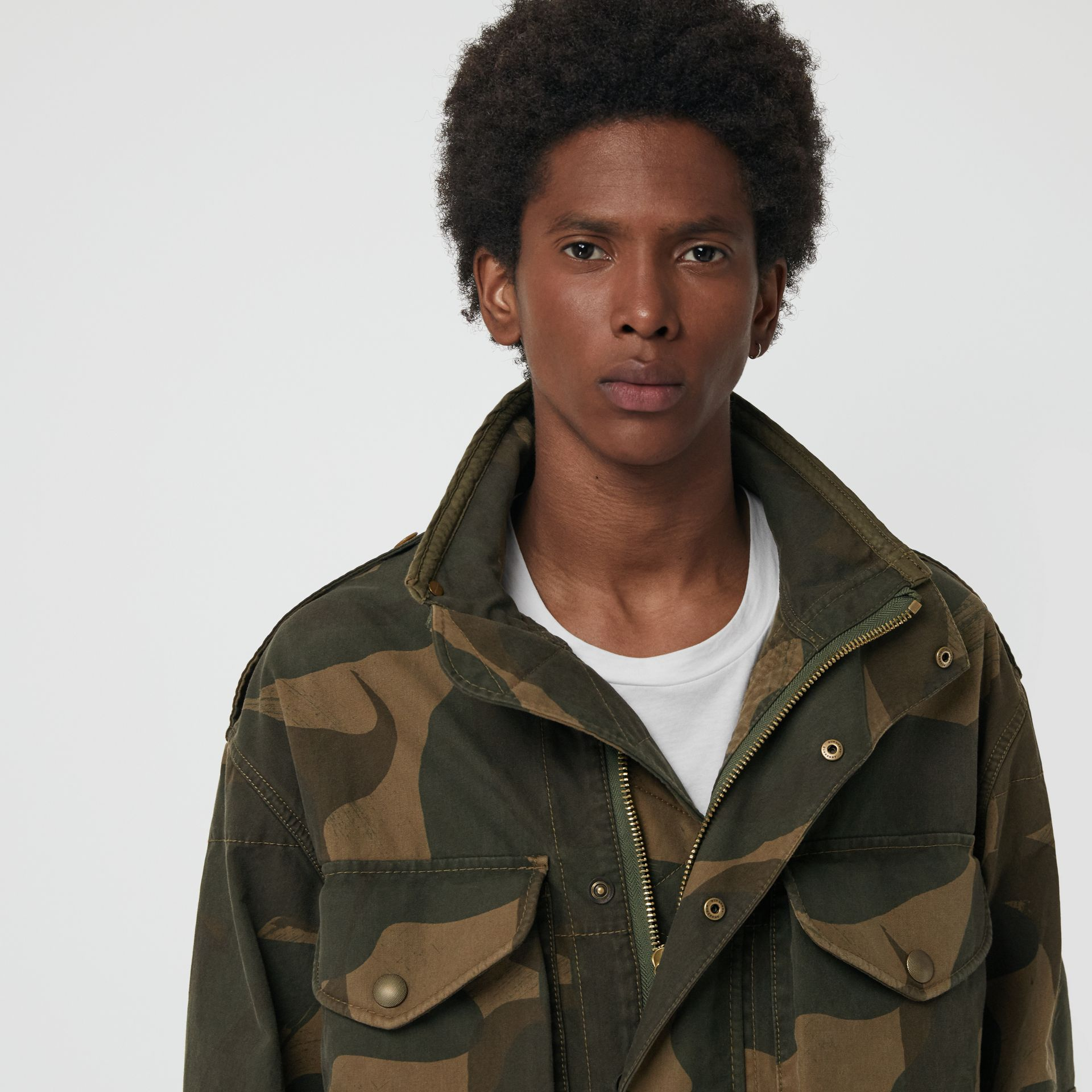 Camouflage Print Cotton Canvas Field Jacket in Khaki - Men | Burberry - gallery image 1