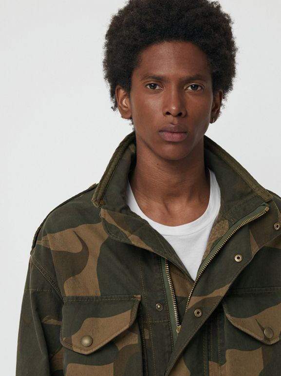 Camouflage Print Cotton Canvas Field Jacket in Khaki - Men | Burberry Australia - cell image 1