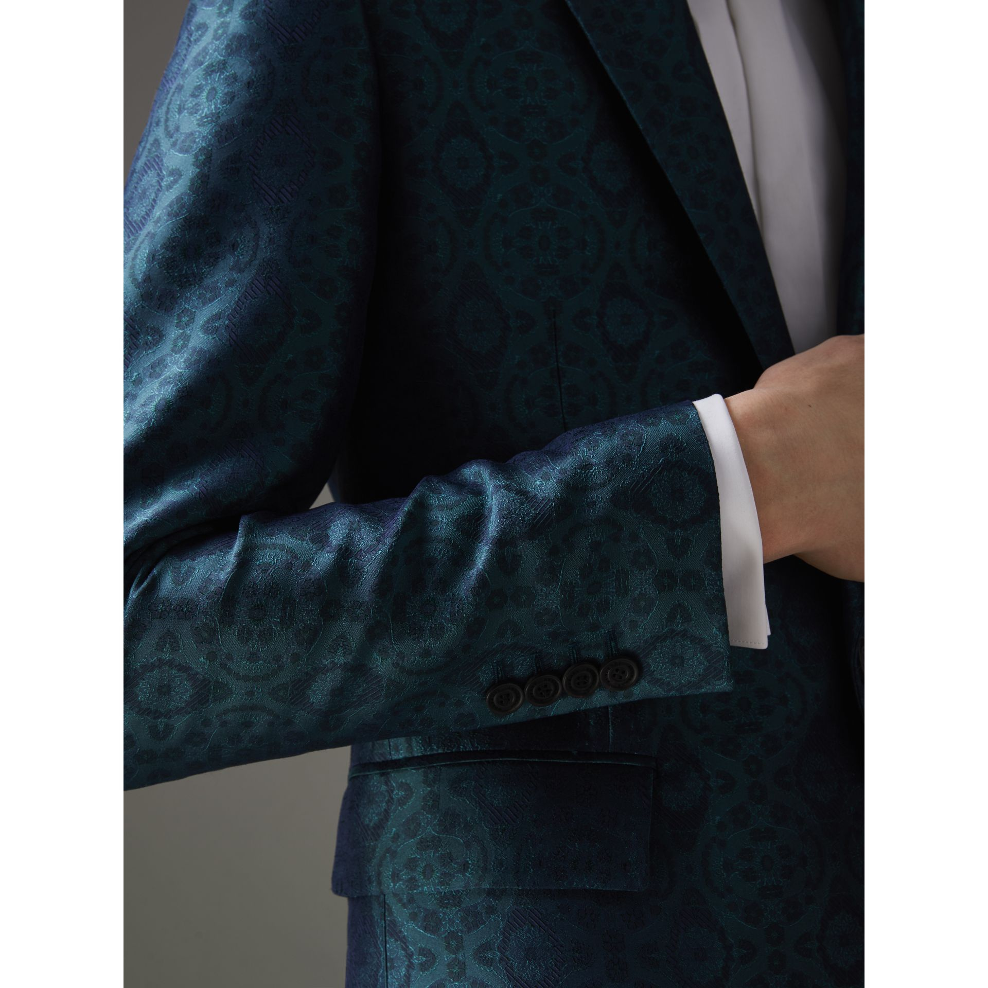 Soho Fit Geometric Silk Jacquard Suit in Dark Teal - Men | Burberry - gallery image 4