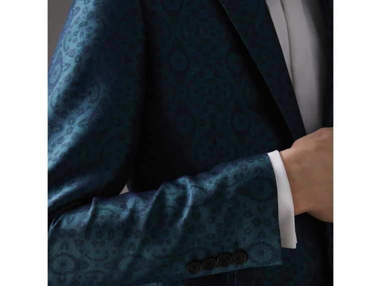 Soho Fit Geometric Silk Jacquard Suit in Dark Teal - Men | Burberry - cell image 4