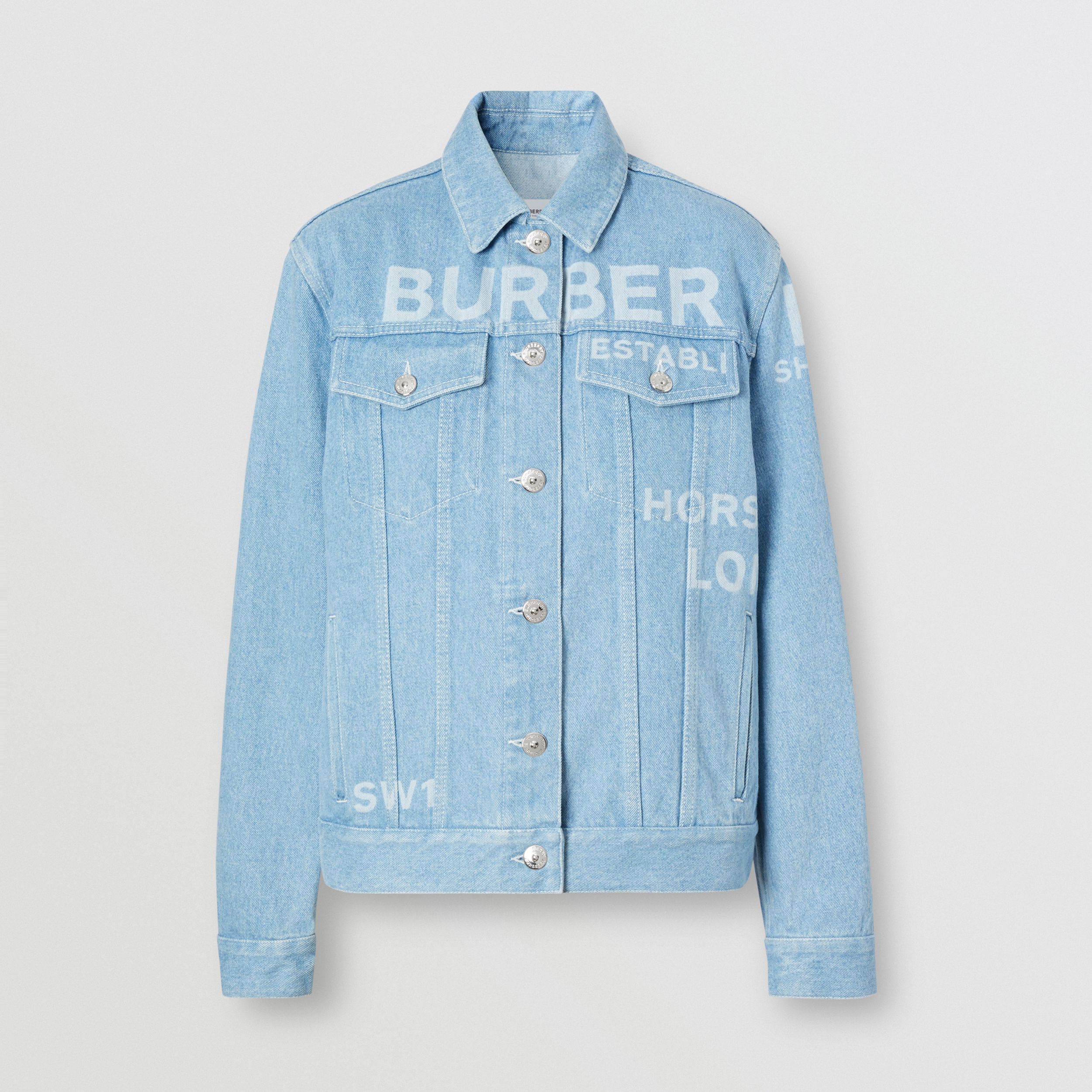 Horseferry Print Bleached Denim Jacket in Light Indigo - Women | Burberry Australia - 4