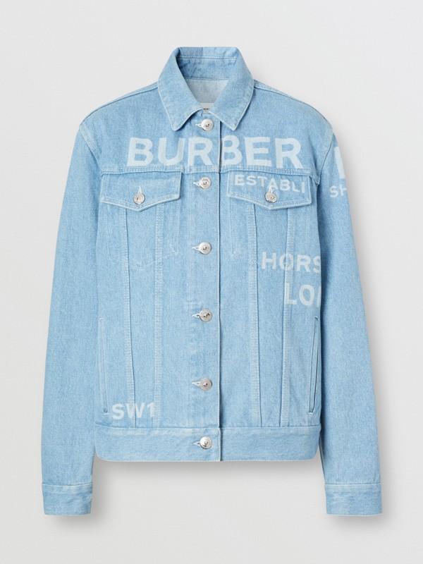 Horseferry Print Bleached Denim Jacket in Light Indigo - Women | Burberry Singapore - cell image 3