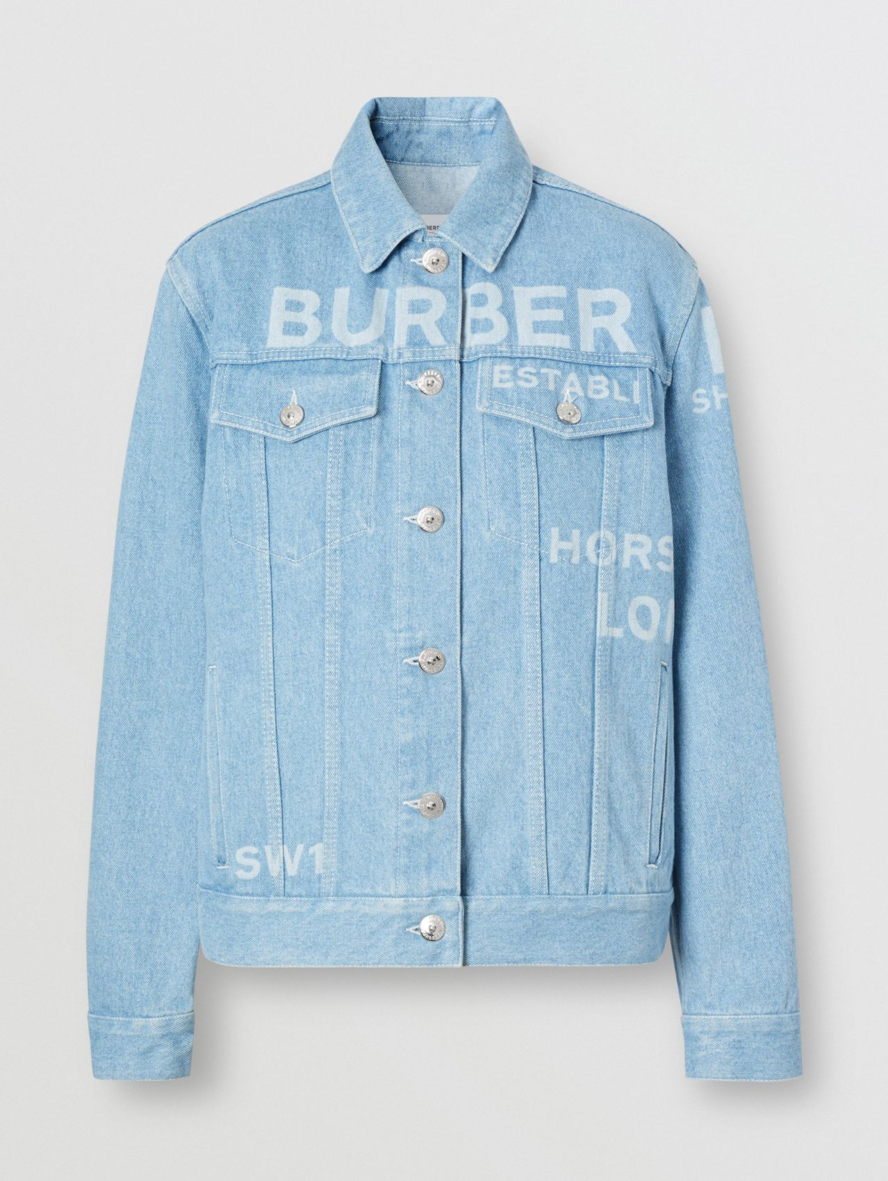 Horseferry Print Bleached Denim Jacket in Light Indigo