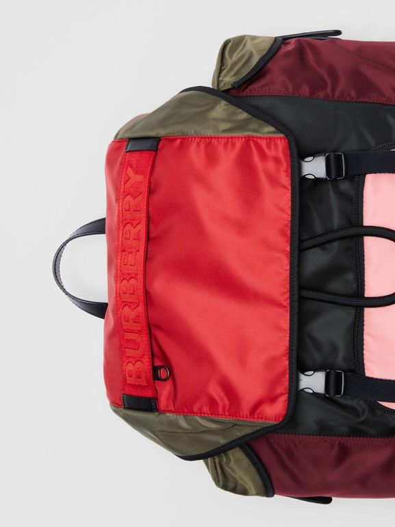 Medium Leather Trim Colour Block Nylon Backpack in Multicolour | Burberry - cell image 1