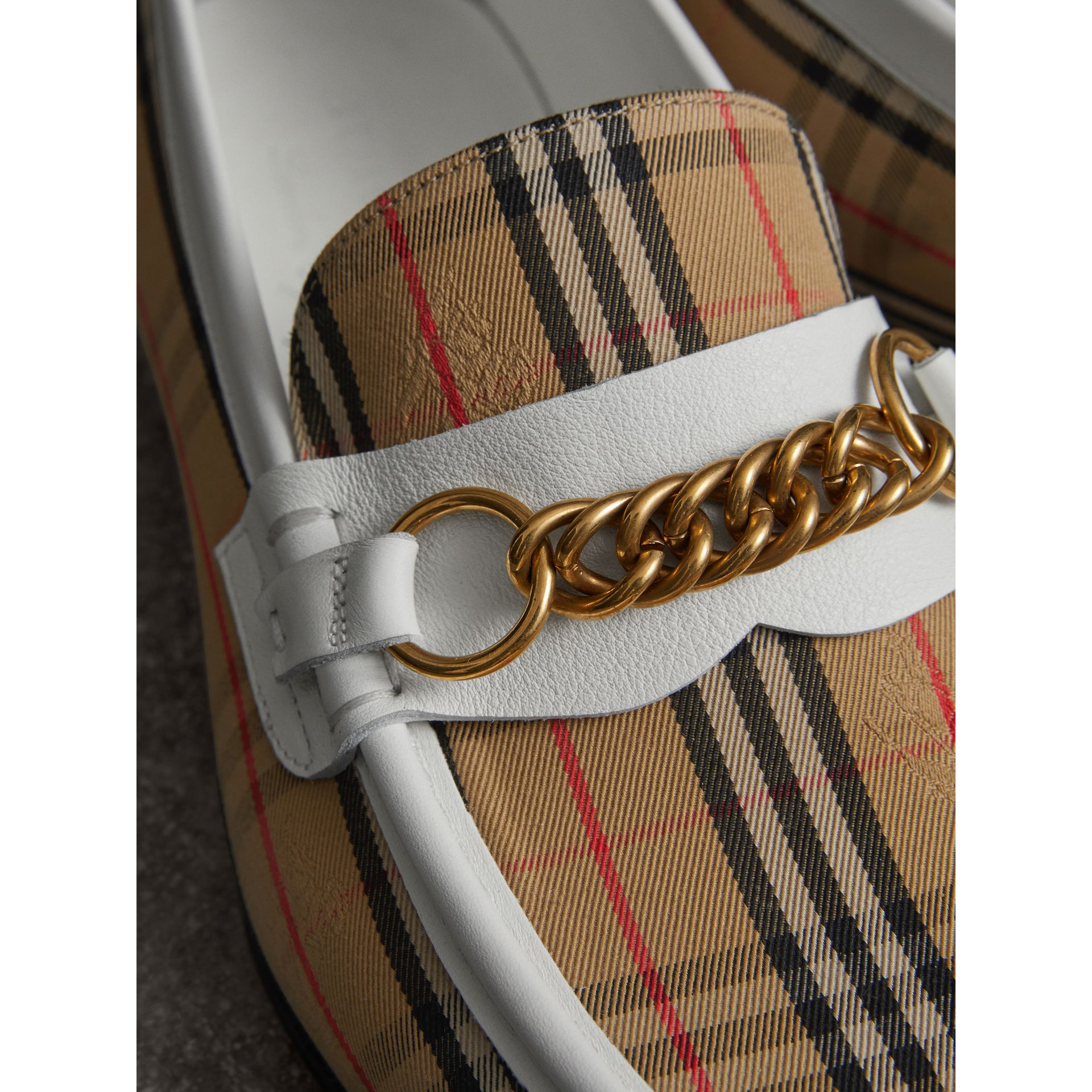The 1983 Check Link Loafer in Off White | Burberry United Kingdom - gallery image 1